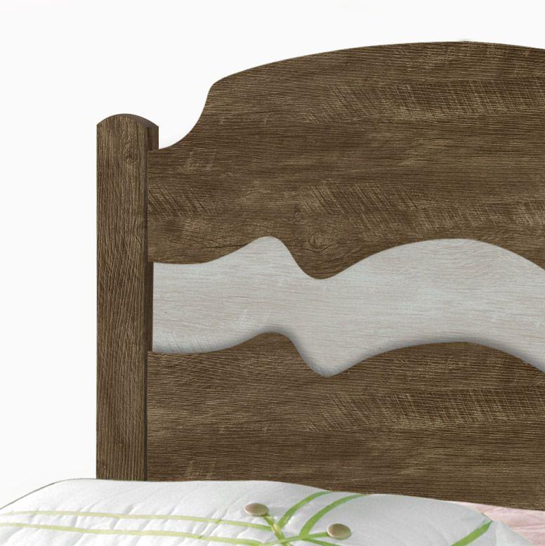 Cama Solteiro Iris Castanho Wood/Avelã Wood