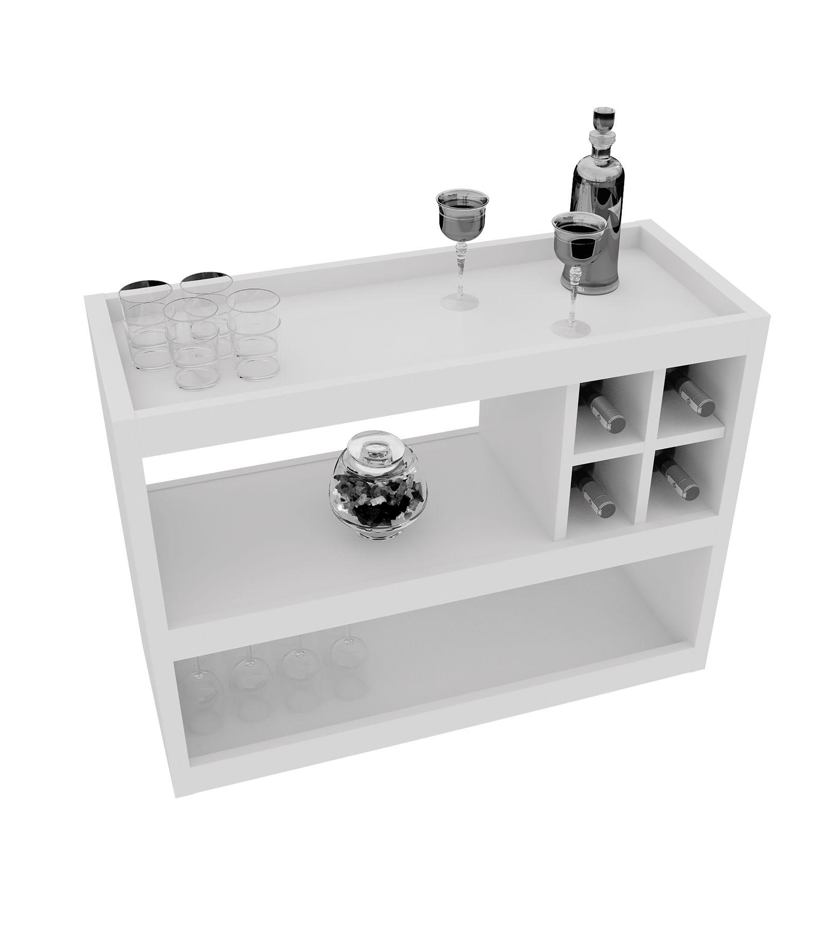 Conjunto Aparador Bar e Painel de Tv Branco 4050-5019 - JB Bechara