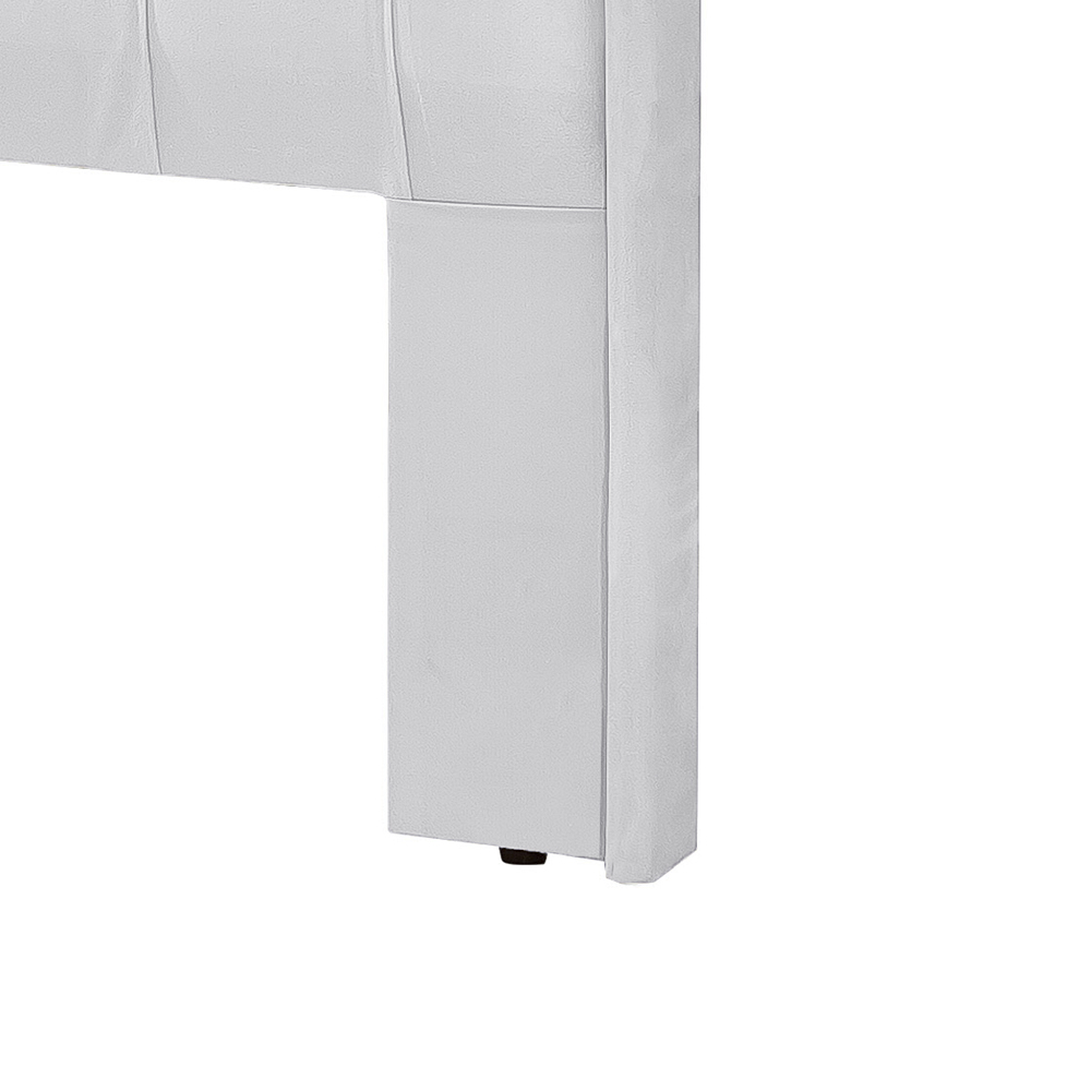 Conjunto Cabeceira Box Casal Dubai 1.4 Com Recamier Divã Corino Branco - LH Móveis