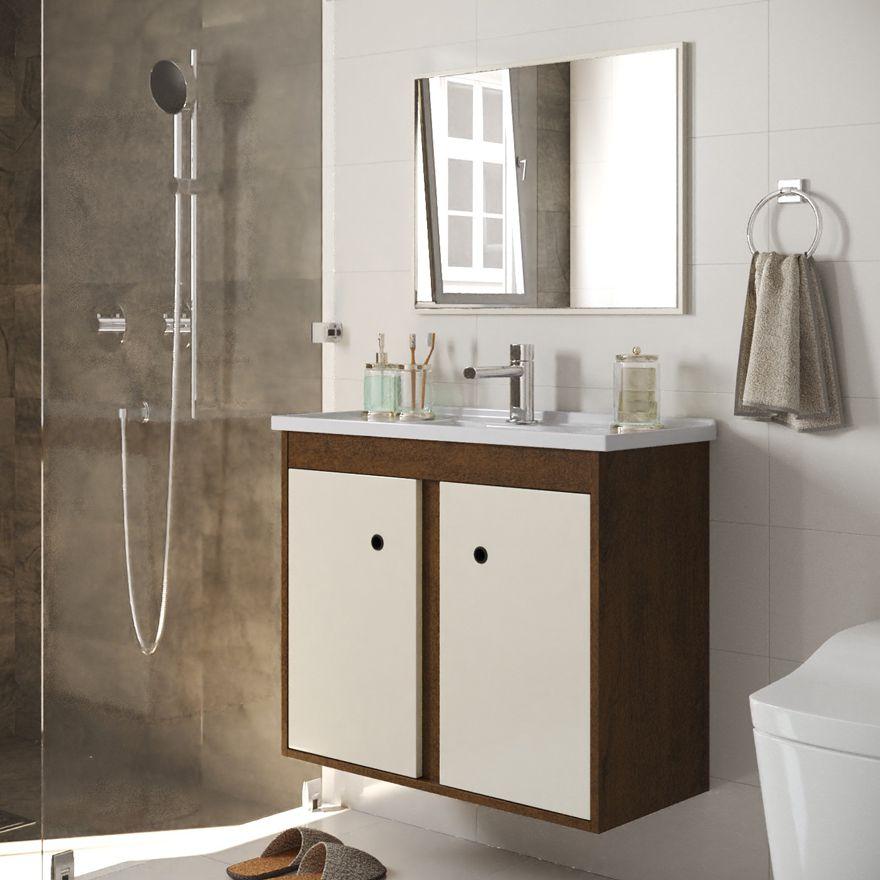 Conjunto Gabinete com Cuba e Espelho Para Banheiro Blazer Malbec / Off White - Fhem Móveis