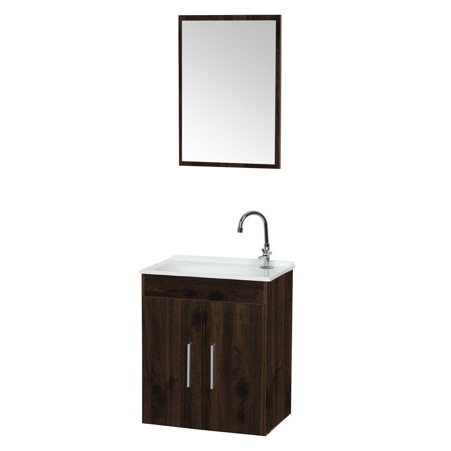 Conjunto Gabinete com Cuba e Espelho Para Banheiro Celta Malbec - Fhem Móveis