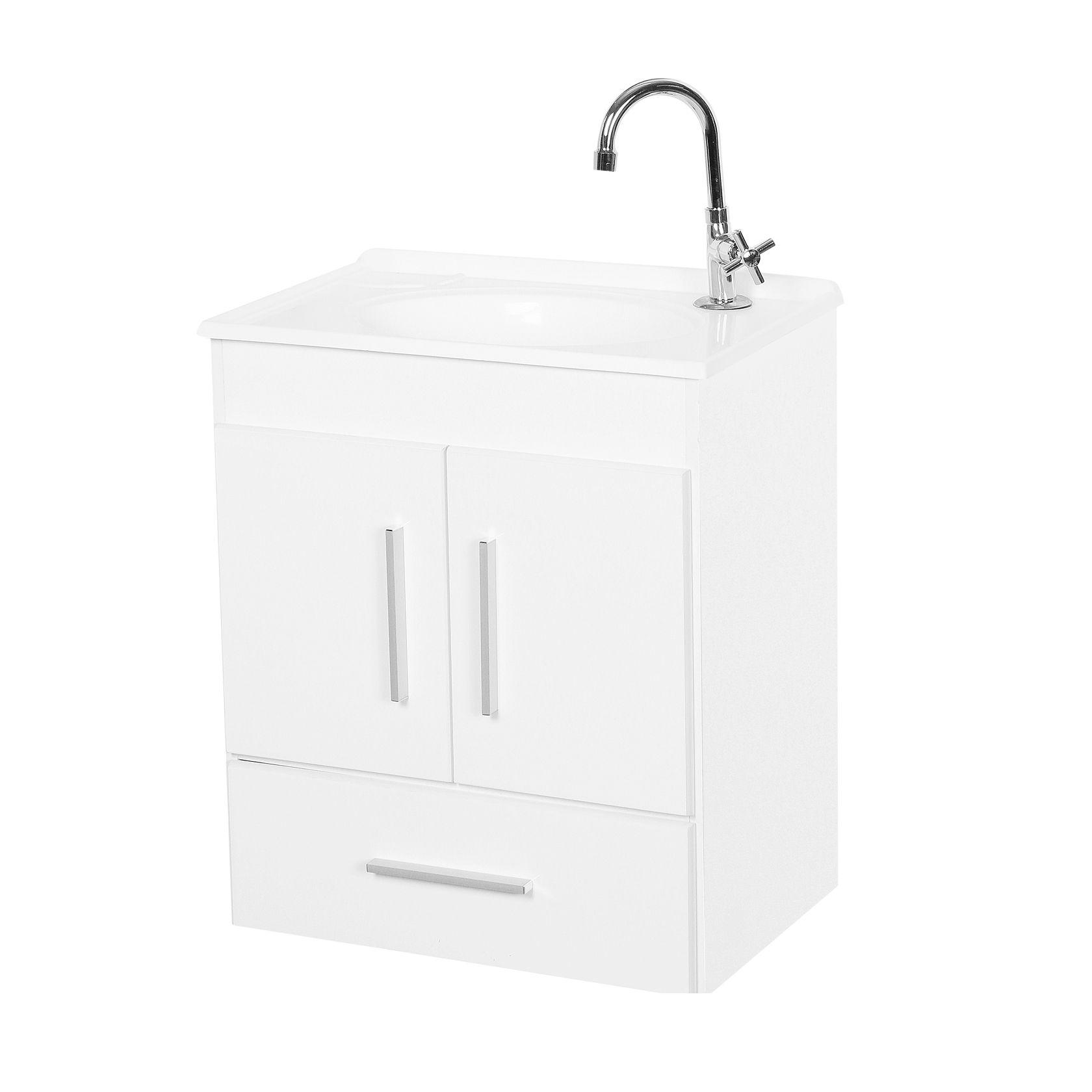 Conjunto Gabinete com Cuba e Espelho Para Banheiro Gol Branco - Fhem Móveis