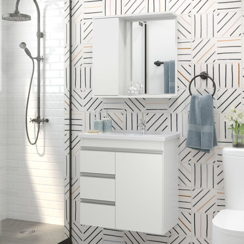 Conjunto Gabinete com Cuba e Espelheira Para Banheiro Malibu Branco - Fhem Móveis
