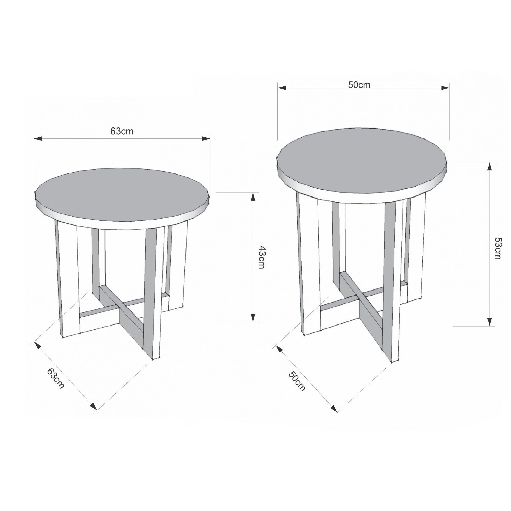 Conjunto mesa de centro com Mesa Lateral Canela Madeirado 8001-8002 - JB Bechara