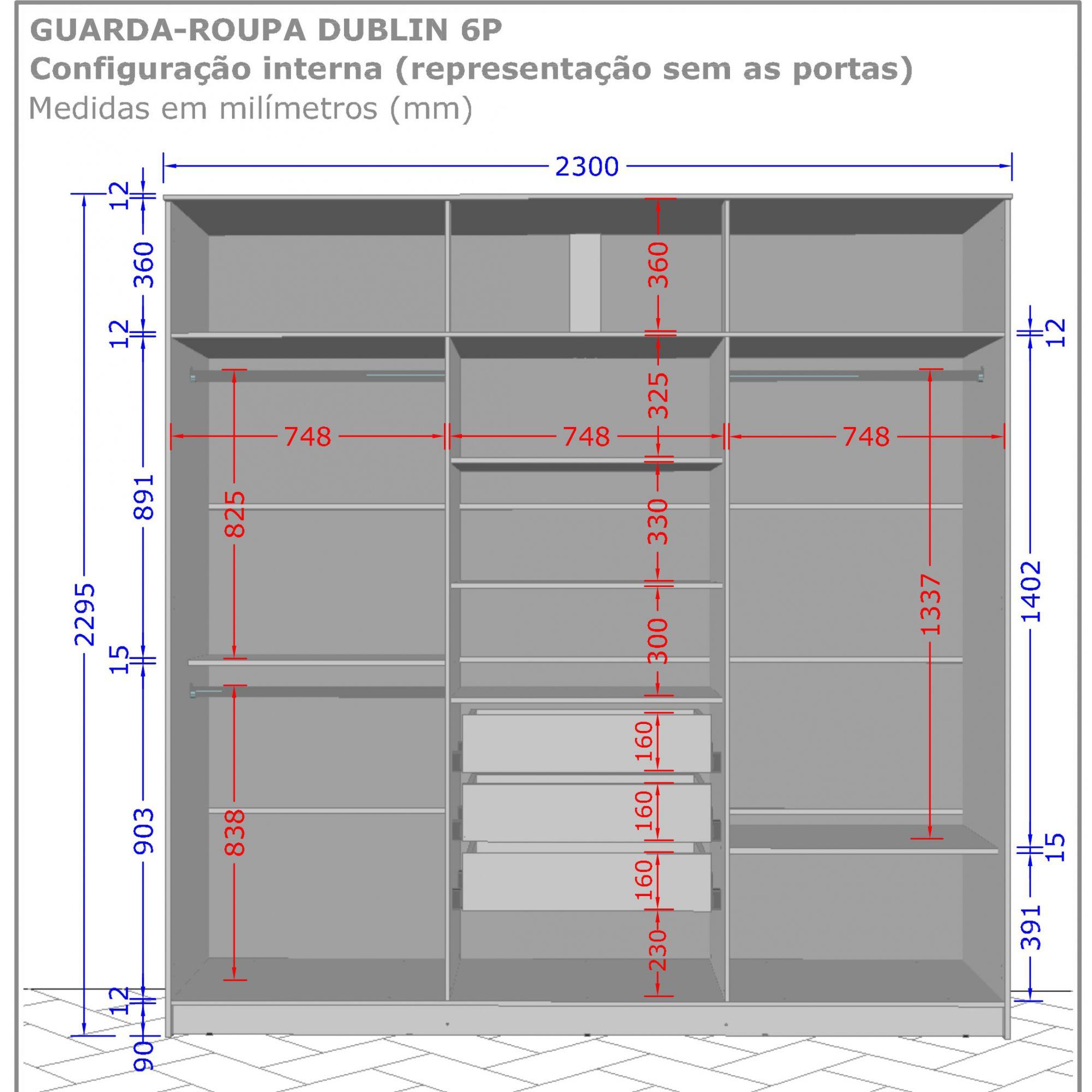 Conjunto Roupeiro Dublin com Cômoda Marsala Madeira Rústica / Madeira 3D - Móveis Bechara