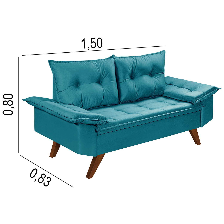 Conjunto Sofás Retrô Bariloche Azul Turquesa
