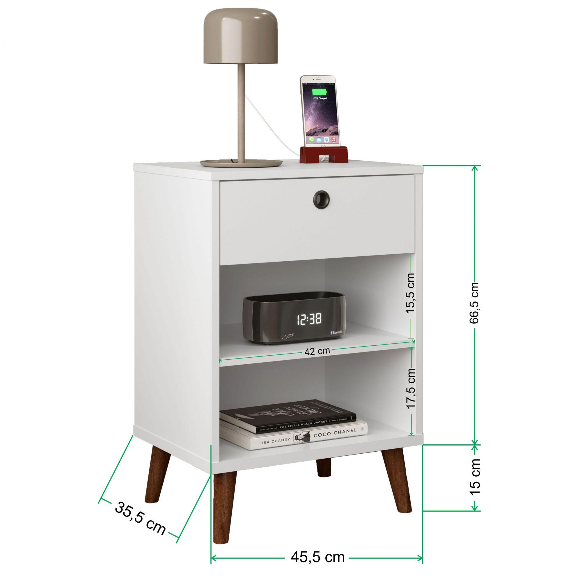 Mesa de Cabeceira Retrô Dubai Branco 100% MDF - LH Móveis