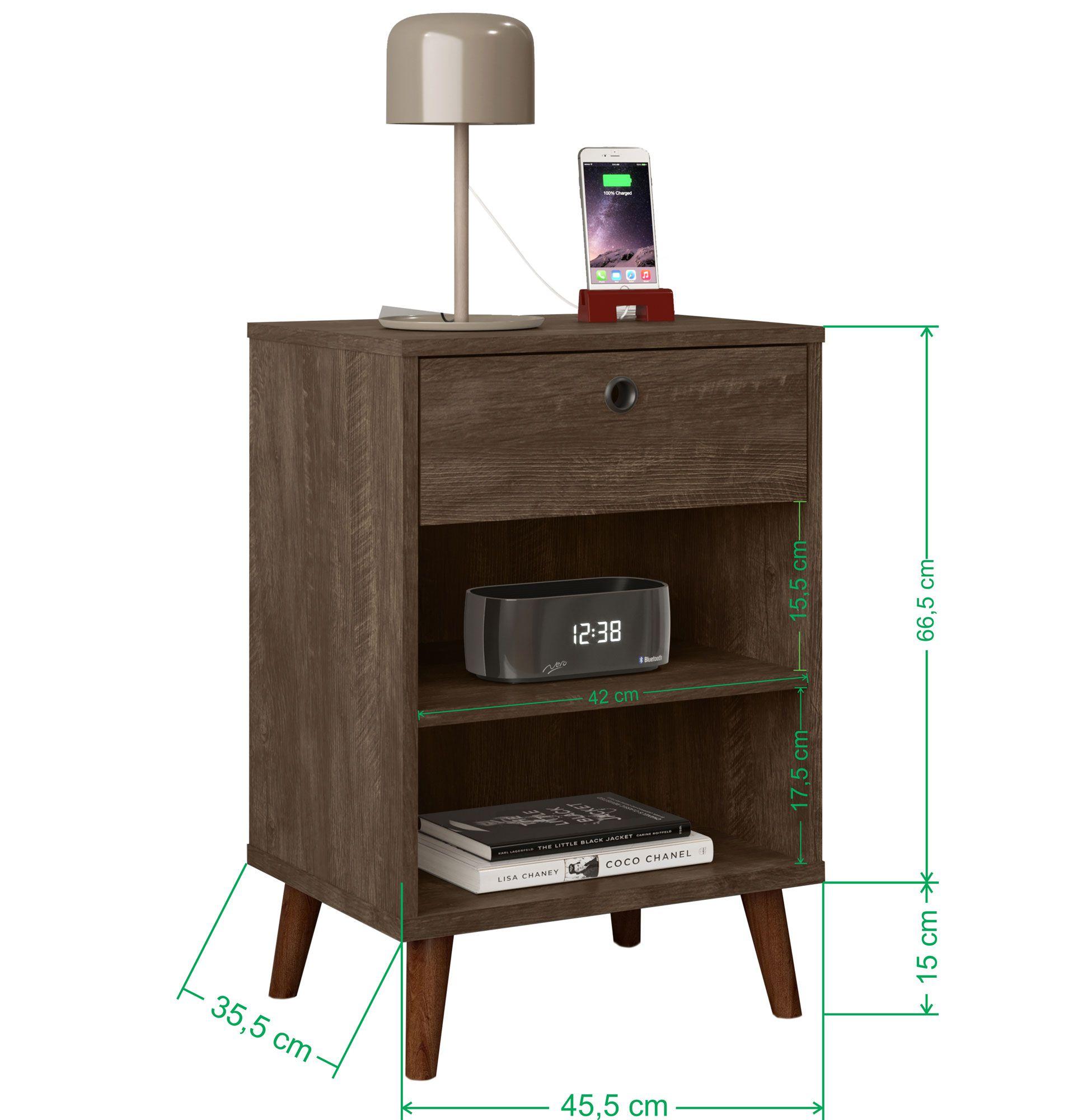 Mesa de Cabeceira Retrô Dubai Castanho Wood 100% MDF -  LH Móveis