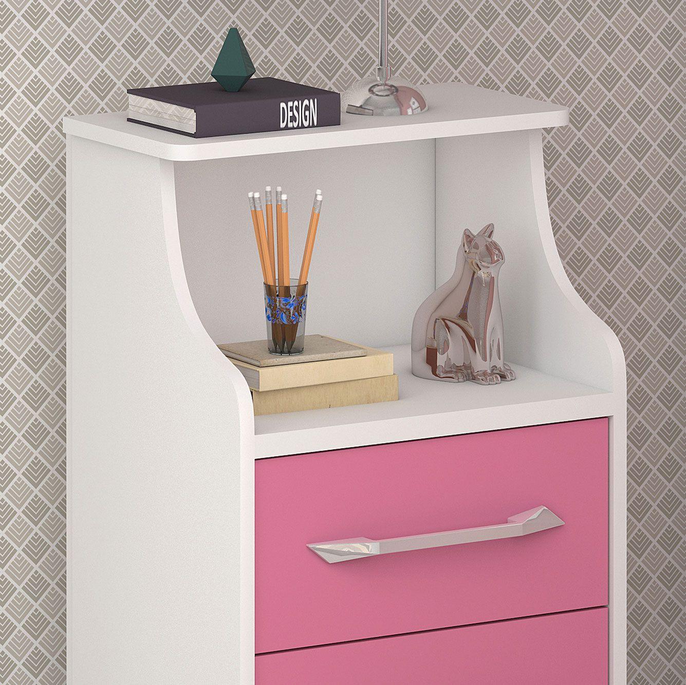 Mesa de Cabeceira com Gavetas Topázio Branco/Rosa