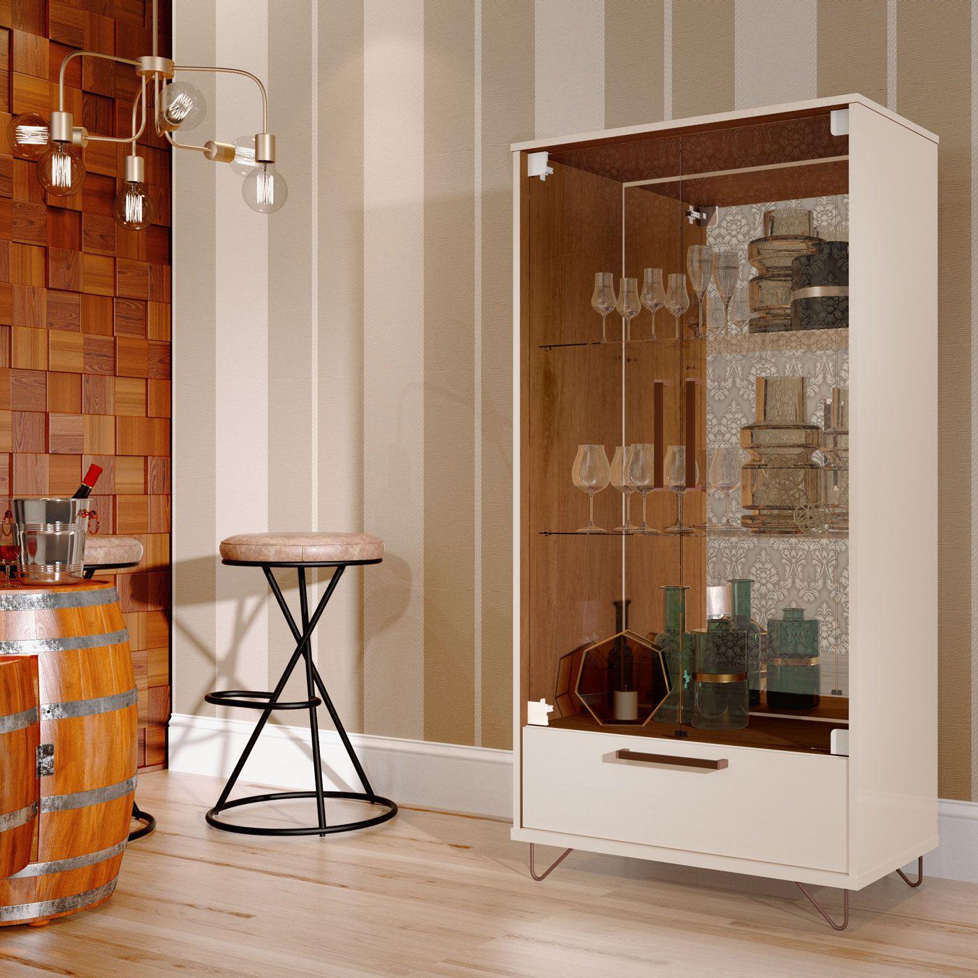 Cristaleira 2 Portas 4045 Pérola/Caramelo
