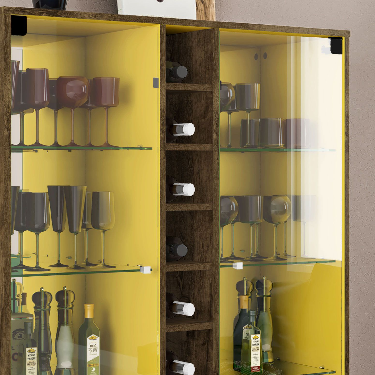 Cristaleira Módena Madeira Rústica / Amarelo - Móveis Bechara