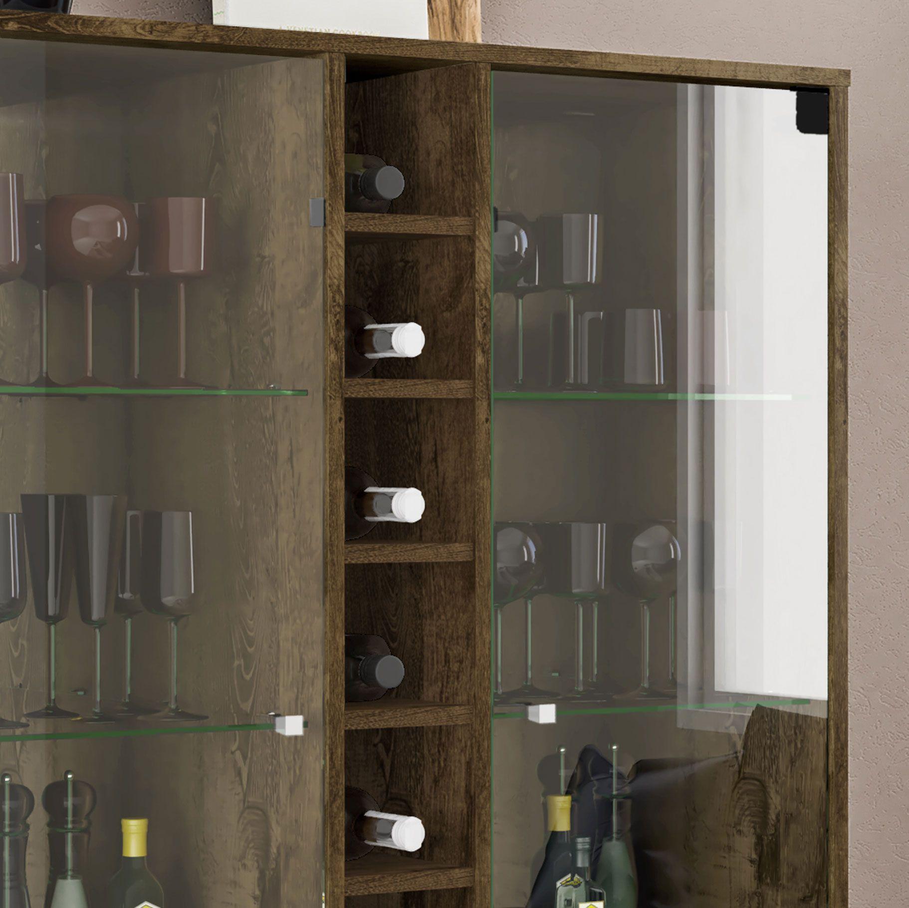 Cristaleira Módena Madeira Rústica - Móveis Bechara