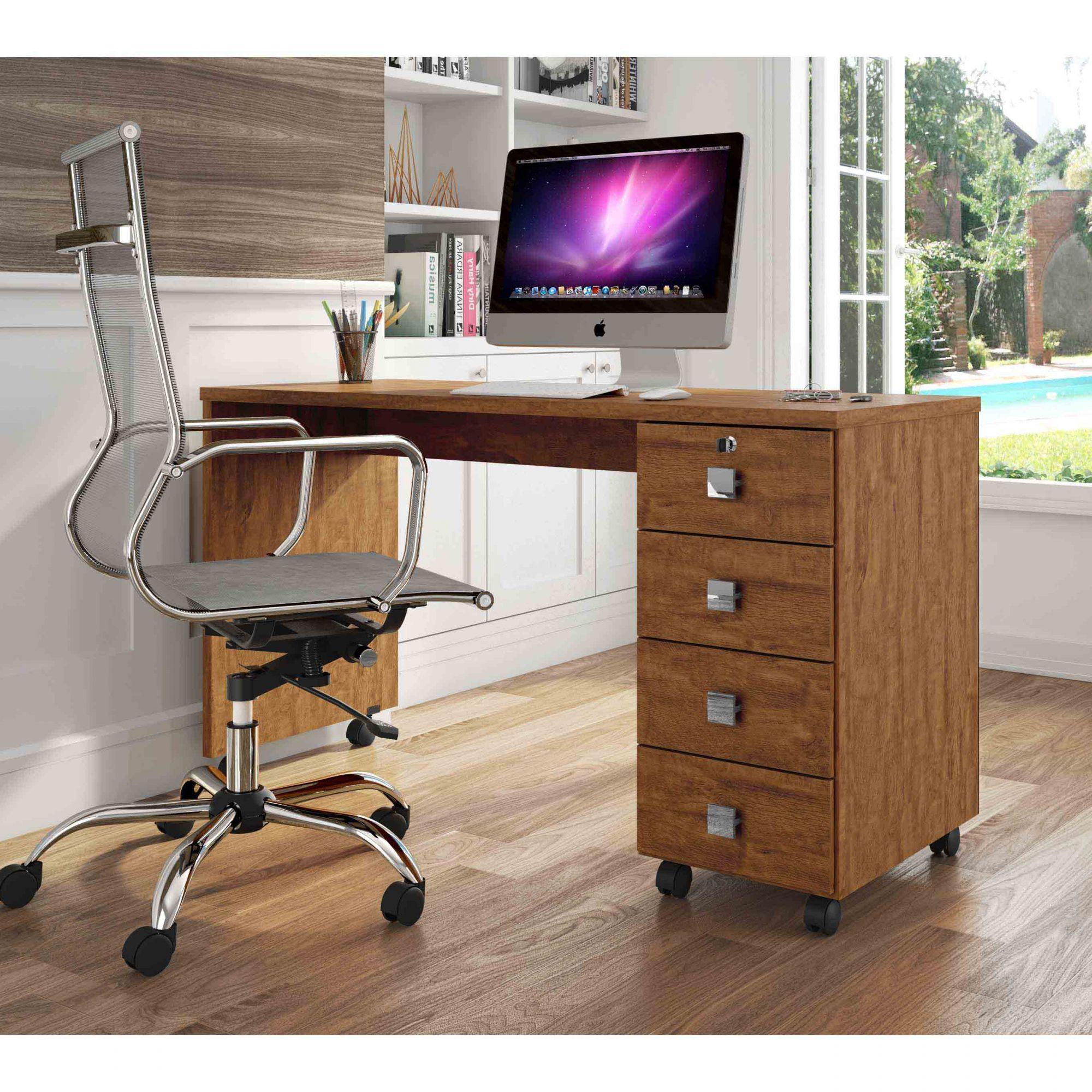 Escrivaninha 4 Gavetas Amêndoa Office Dubai