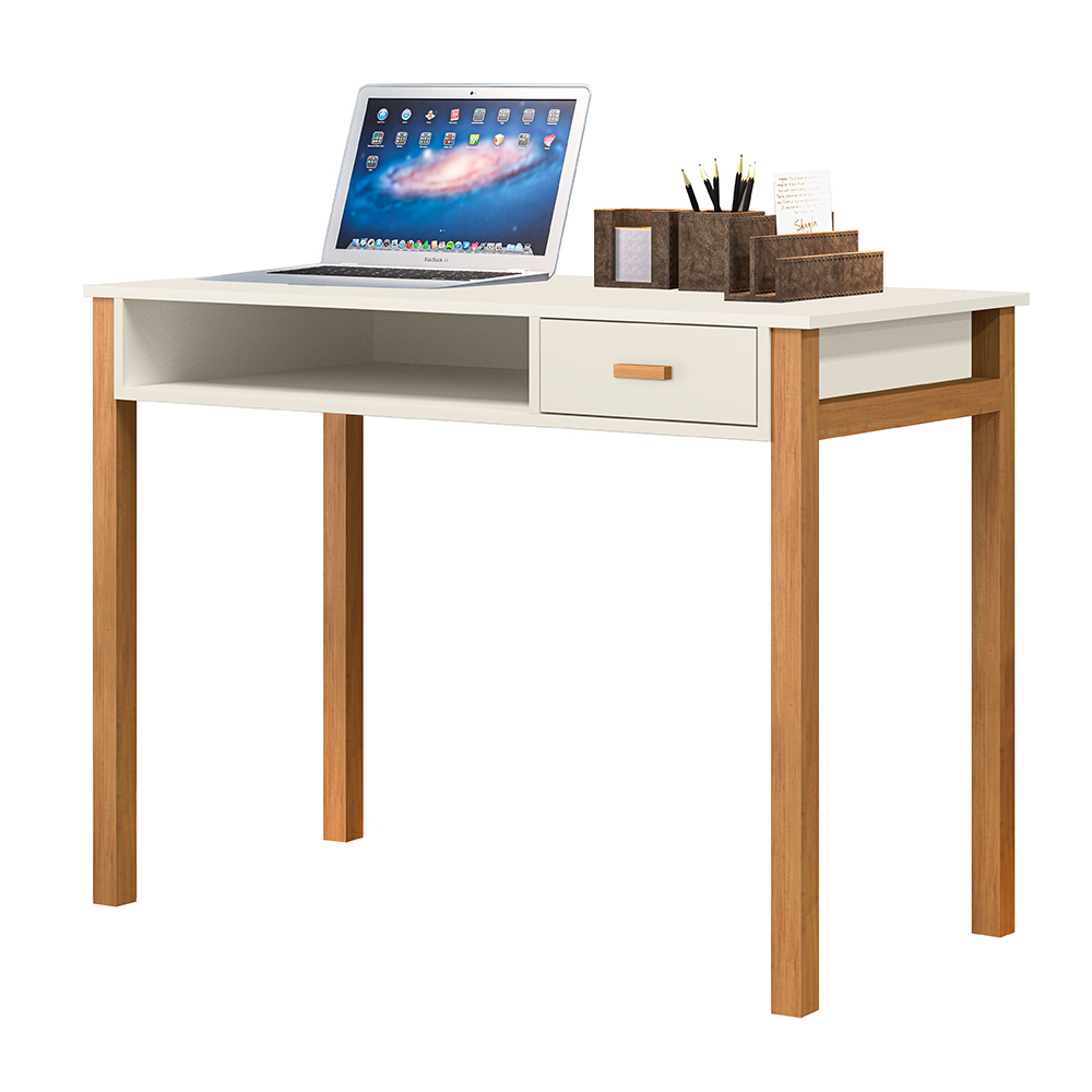 Escrivaninha Connect 1 Gaveta Off White / Amêndoa - LH Móveis