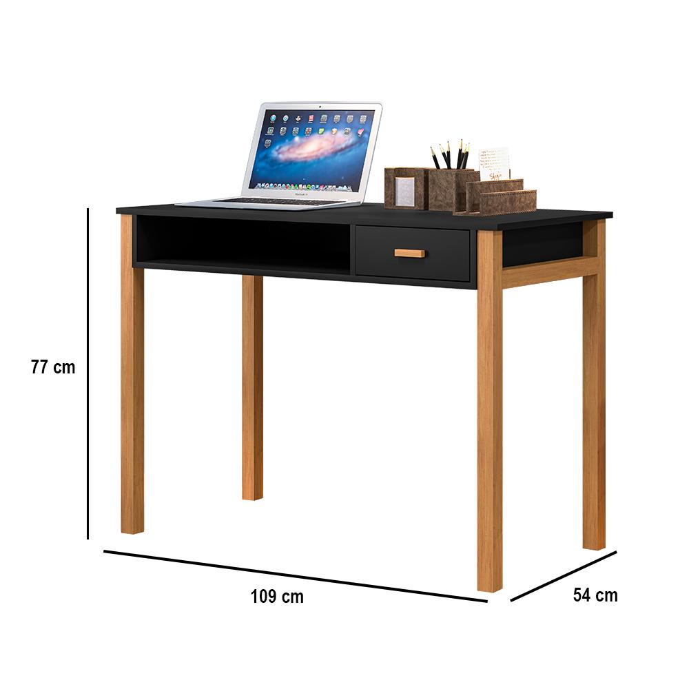 Escrivaninha Connect 1 Gaveta Preto / Amêndoa - LH Móveis