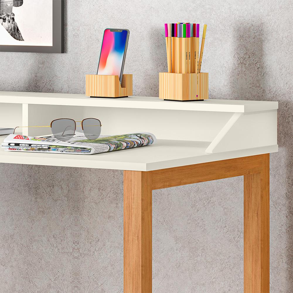 Escrivaninha Holder Off White / Amêndoa - LH Móveis