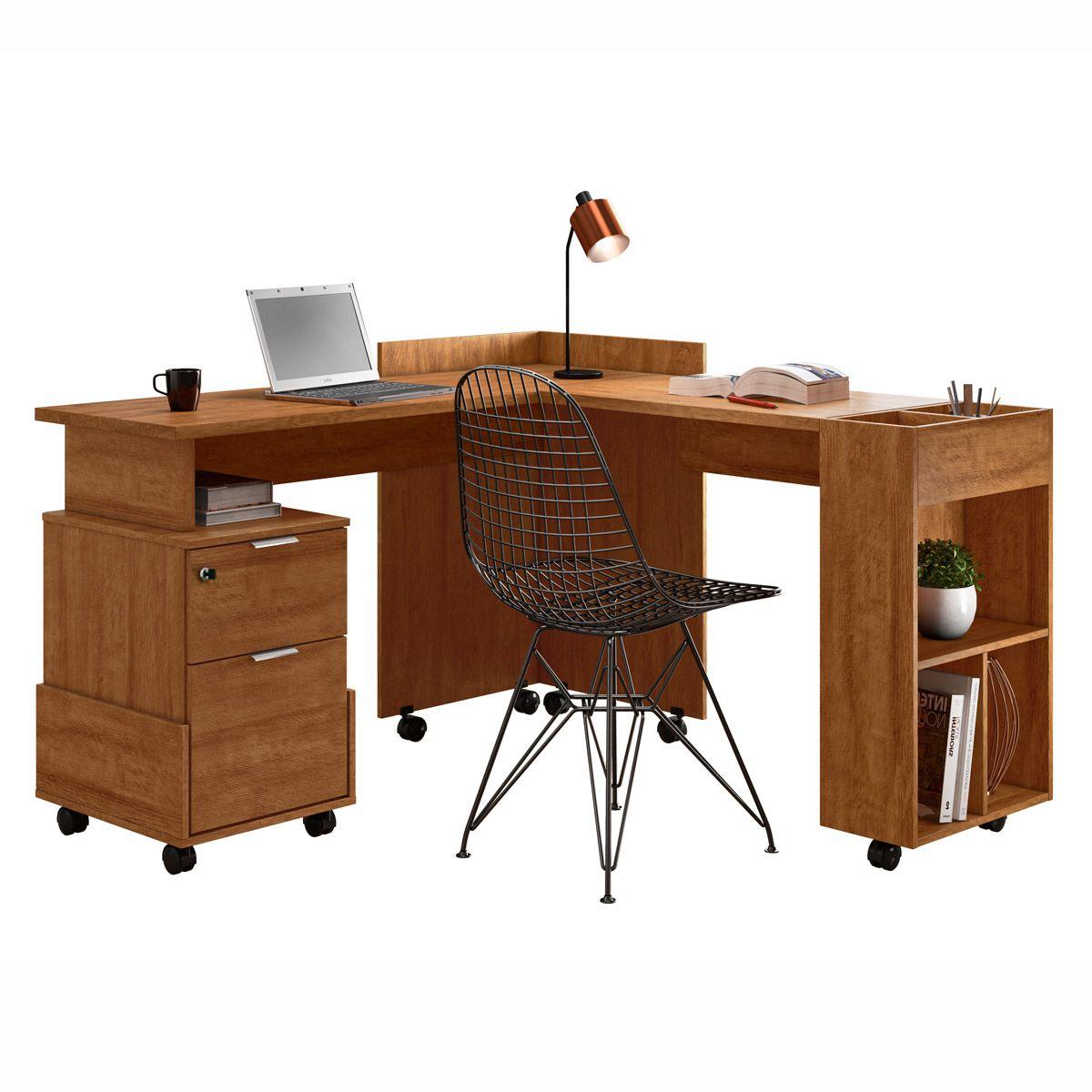 Escrivaninha/Office em L Alessa Amêndoa