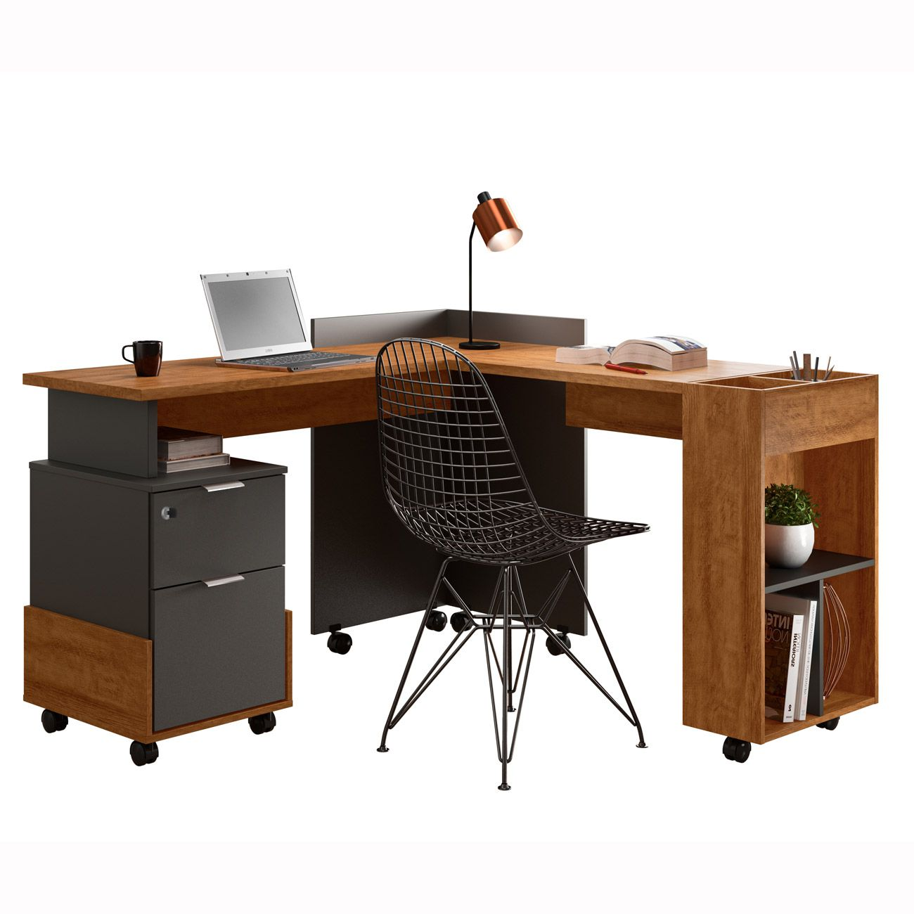 Escrivaninha/Office em L Alessa Amêndoa / Chumbo