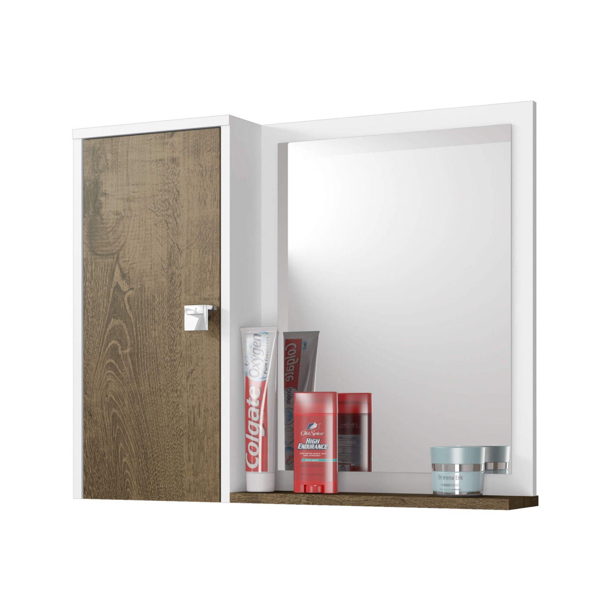 Espelheira para Banheiro Gênova Branco / Madeira Rústica - Móveis Bechara