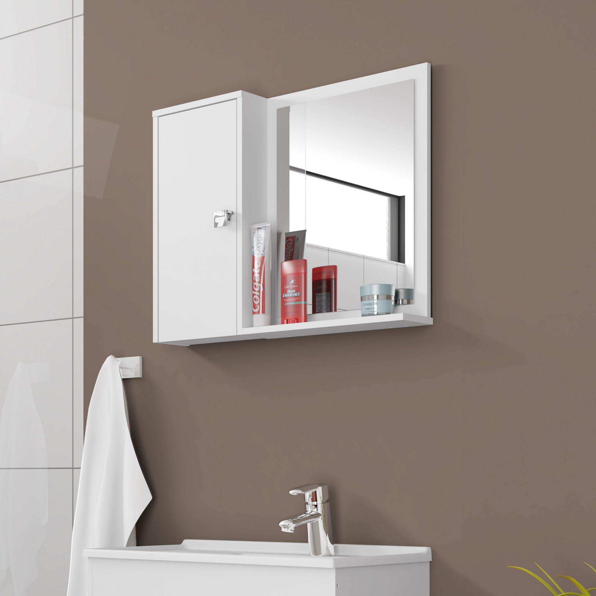 Espelheira para Banheiro Gênova Branco - Móveis Bechara