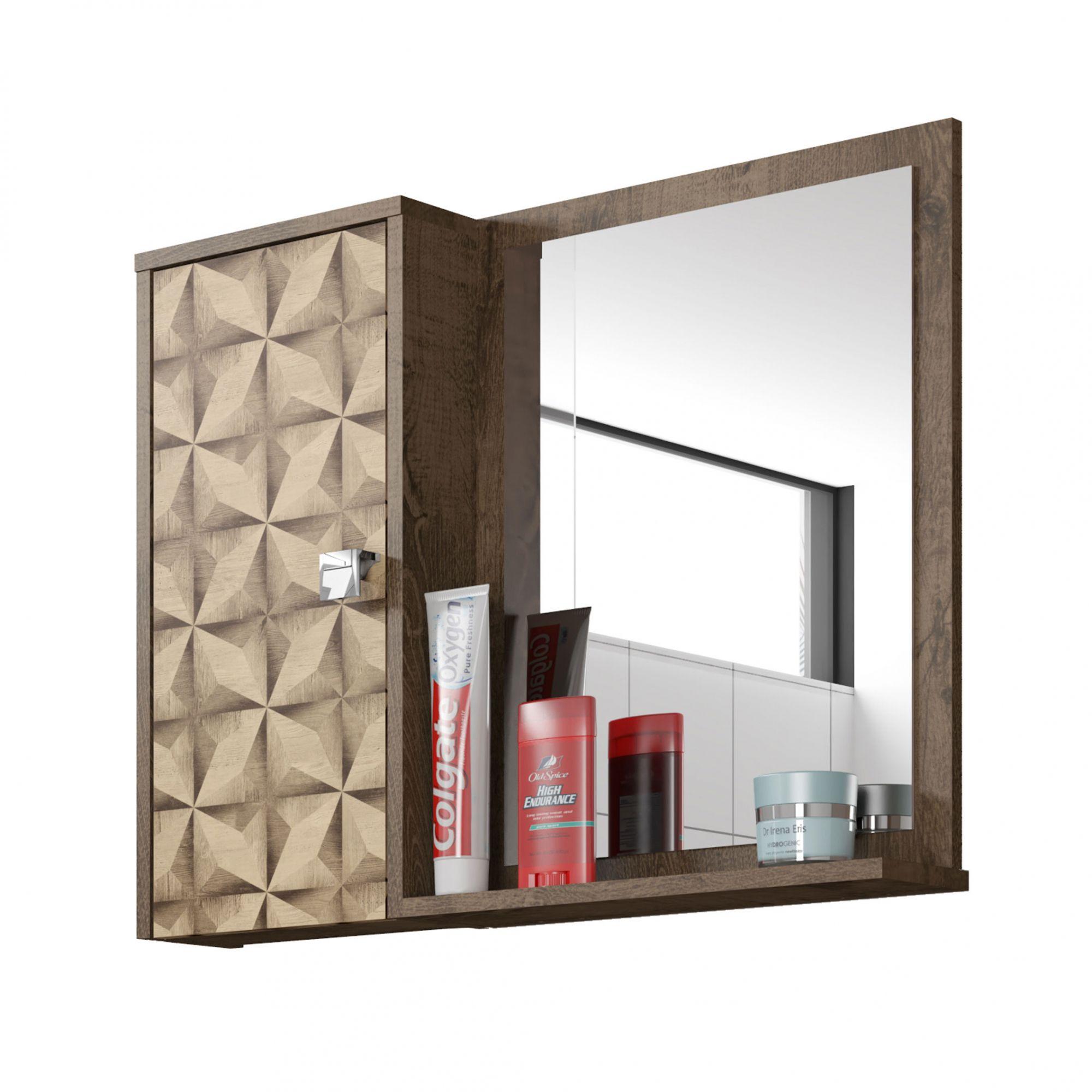 Espelheira para Banheiro Gênova Madeira Rústica / Madeira 3D - Móveis Bechara