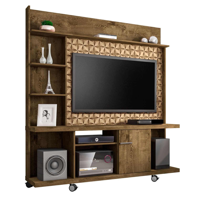 Estante Home para Tv ate 47 polegadas Taurus Madeira Rustica / Madeira 3D - Moveis Bechara