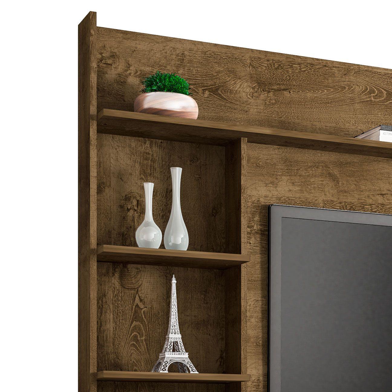 Estante Home para Tv até 47 polegadas Taurus Madeira Rústica - Móveis Bechara