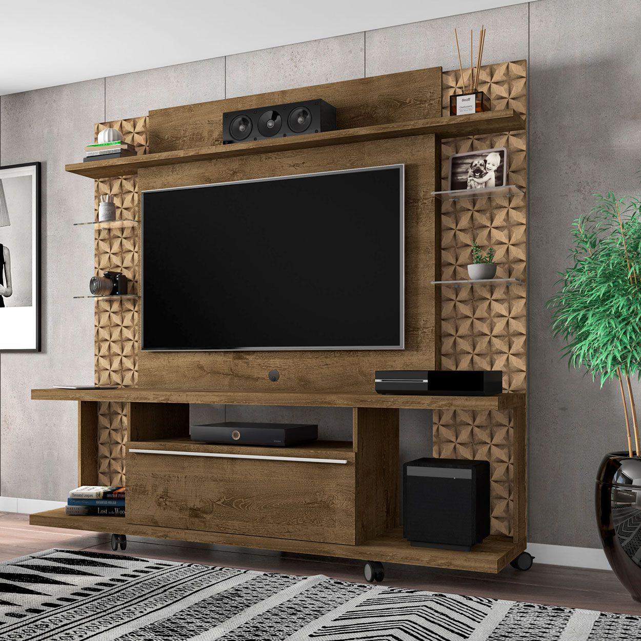 Estante Home para Tv até 50 polegadas New Torino Madeira Rústica / Madeira 3D - Móveis Bechara