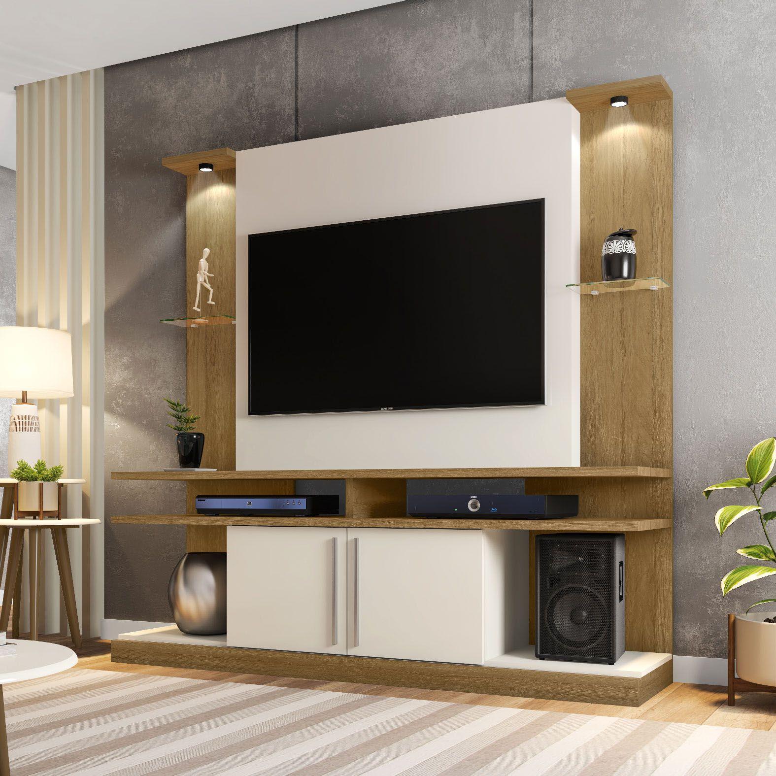 Estante Home para Tv até 60 polegadas York Led Cinamomo / Off-White - Móveis Bechara