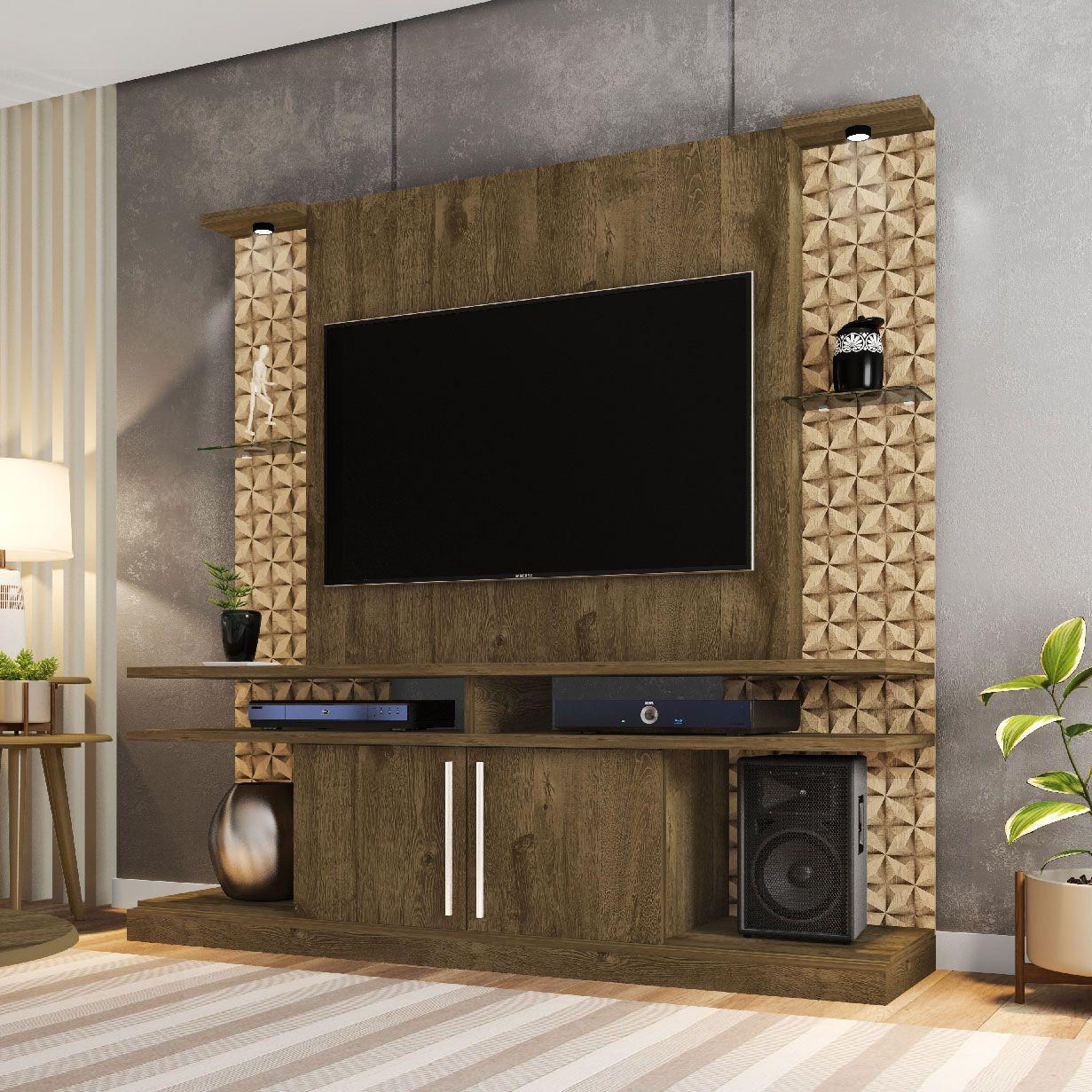 Estante Home para Tv até 60 polegadas York Led Madeira Rústica / Madeira 3D - Móveis Bechara