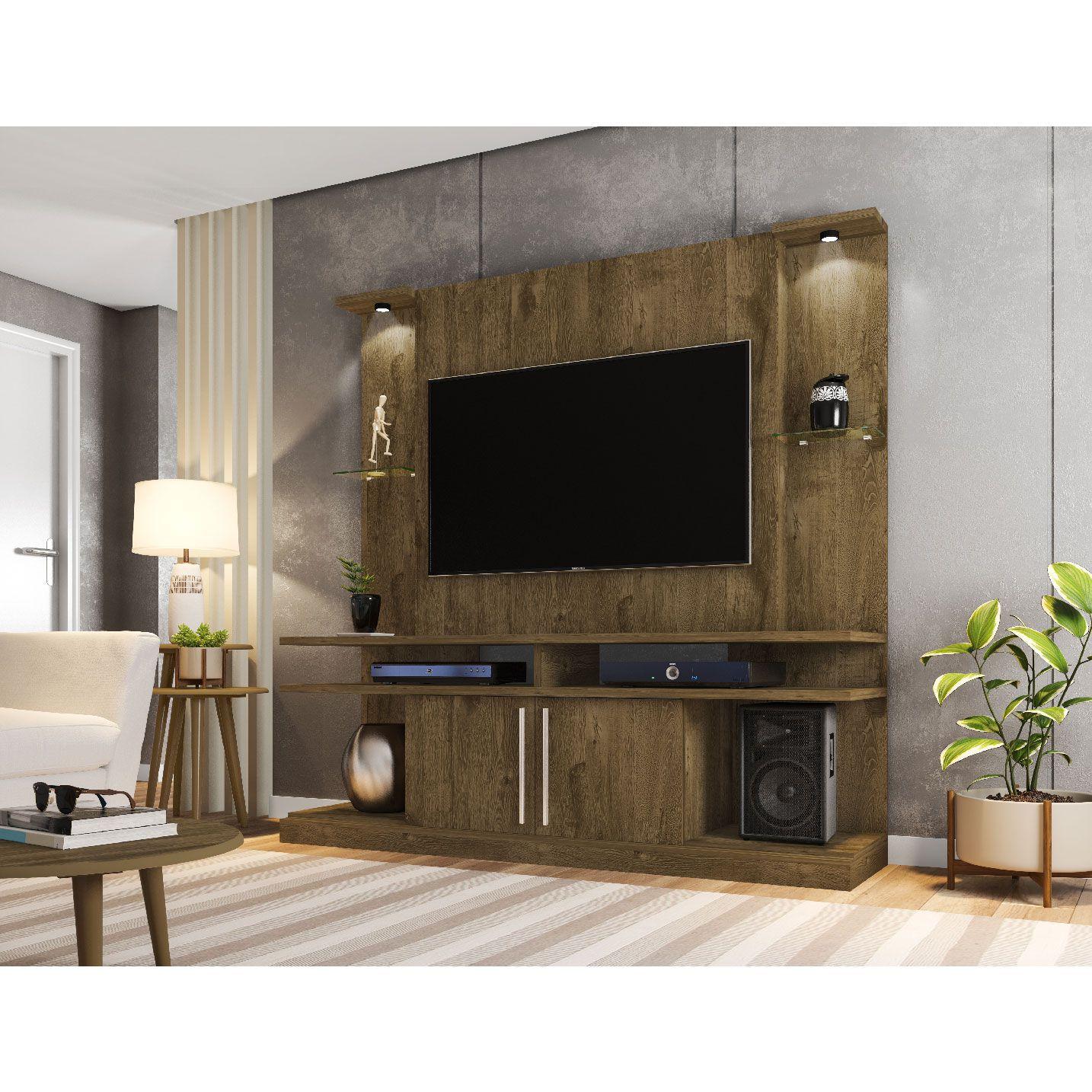 Estante Home para Tv até 60 polegadas York Led Madeira Rústica - Móveis Bechara