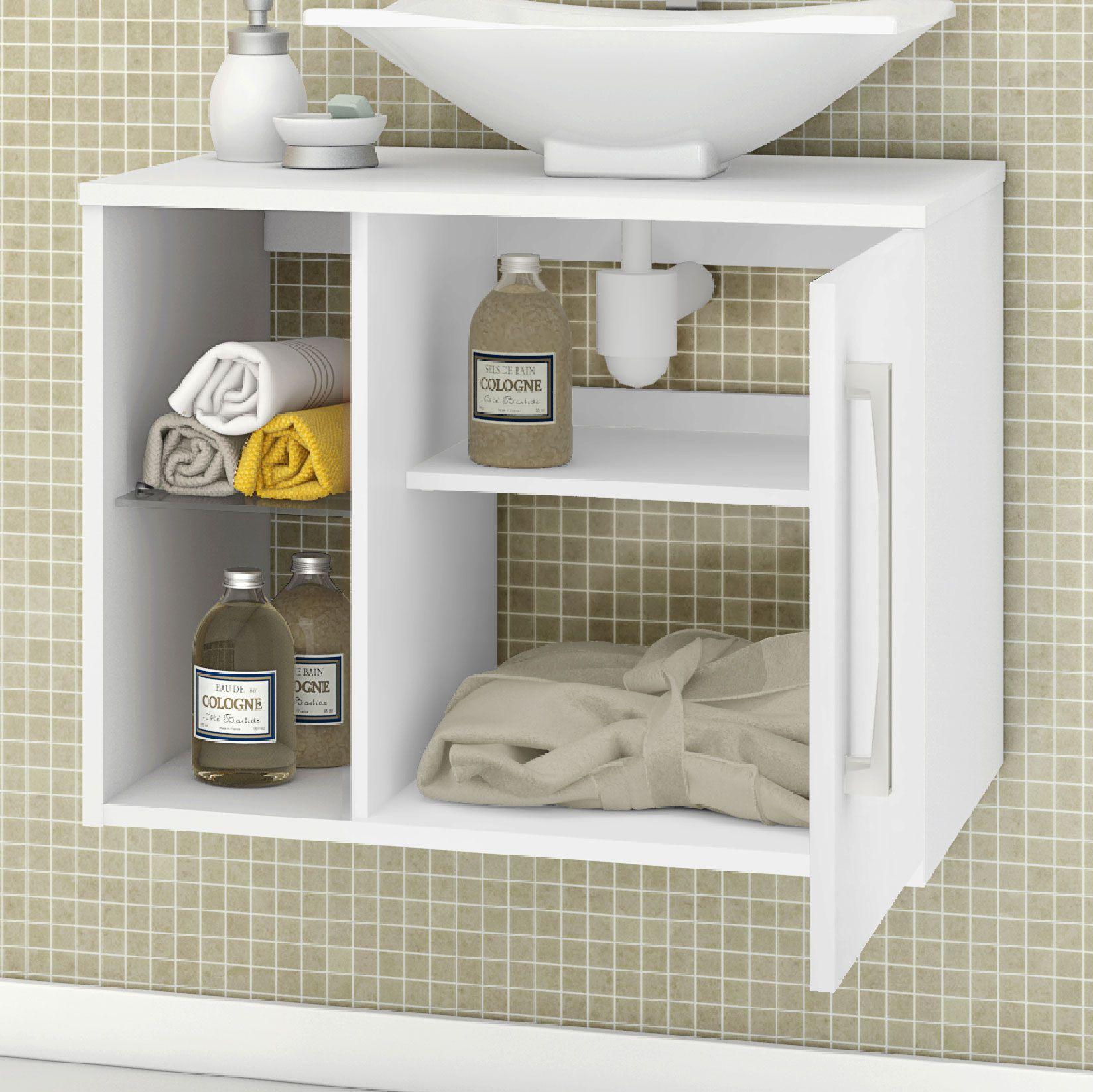 Gabinete com Espelheira Baden Branco - Móveis Bechara