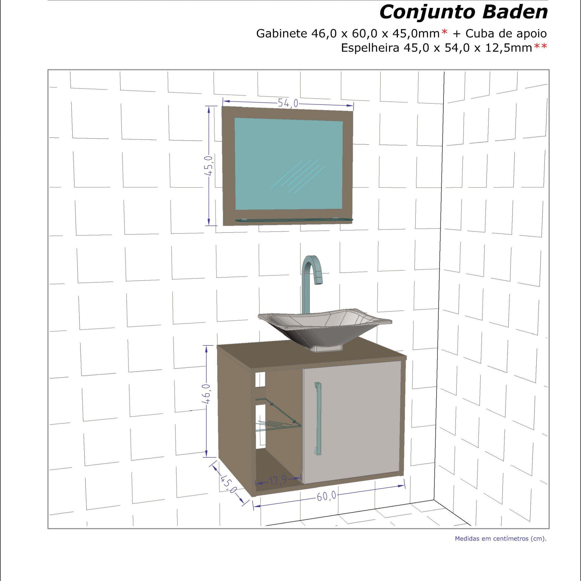 Gabinete com Espelheira Baden Branco - Moveis Bechara