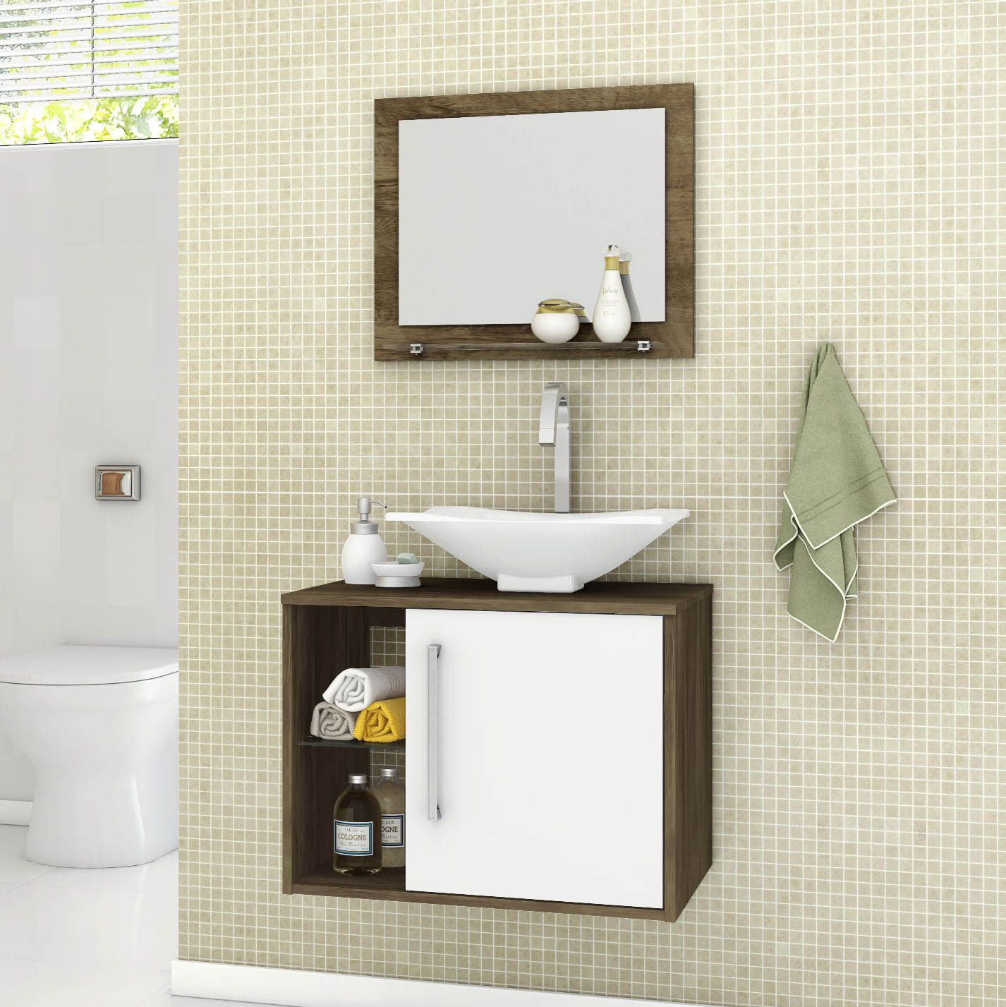 Gabinete com Espelheira Baden Madeira Rústica / Branco - Móveis Bechara