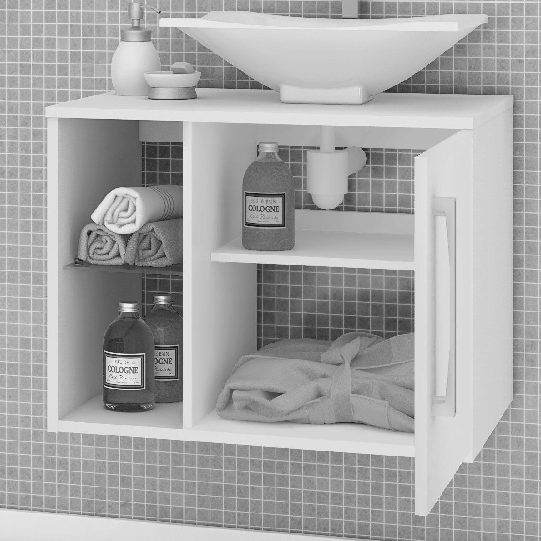 Gabinete com Espelheira Baden Madeira Rustica / Branco - Moveis Bechara