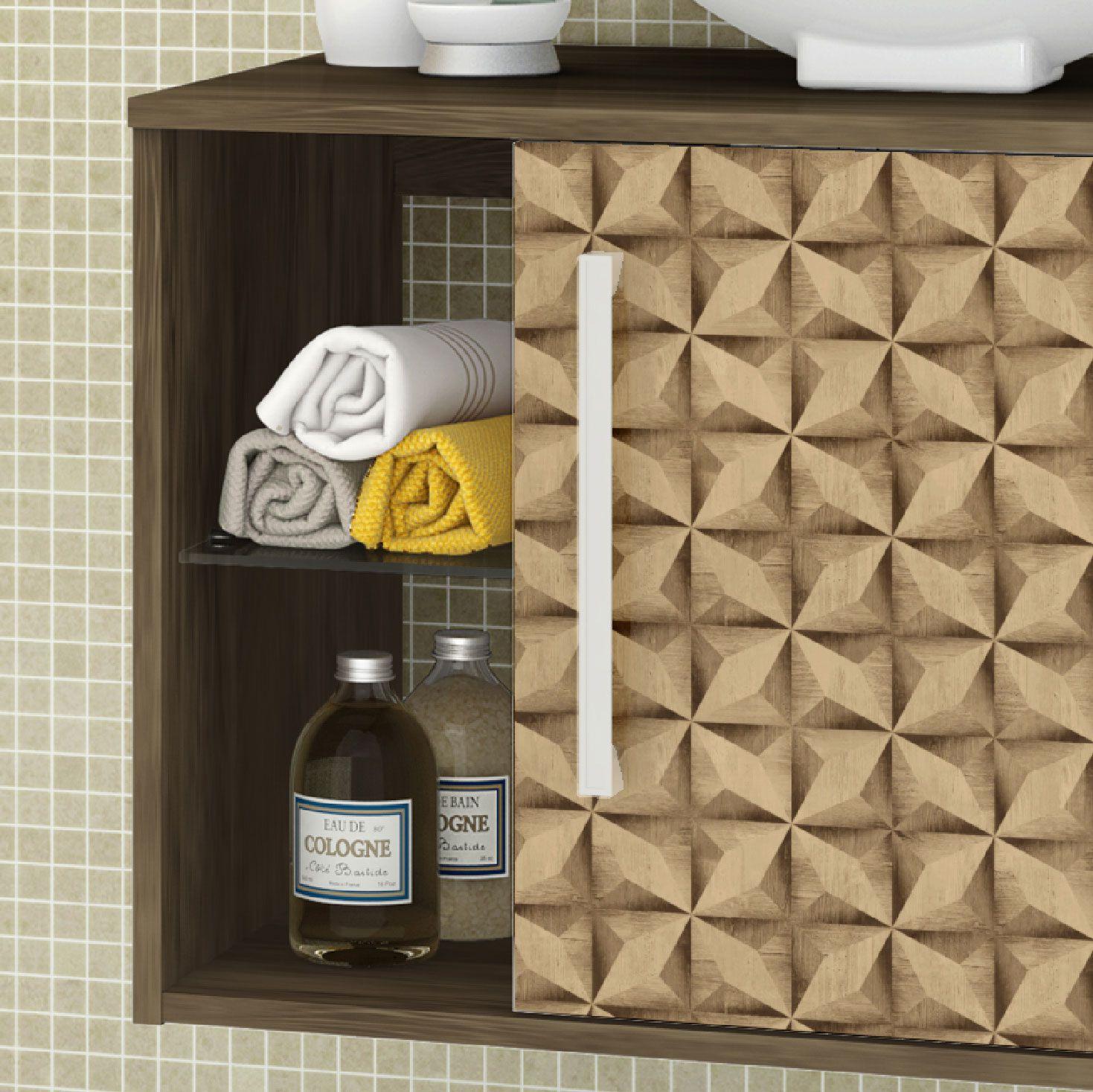 Gabinete com Espelheira Baden Madeira Rustica / Madeira 3D - Moveis Bechara
