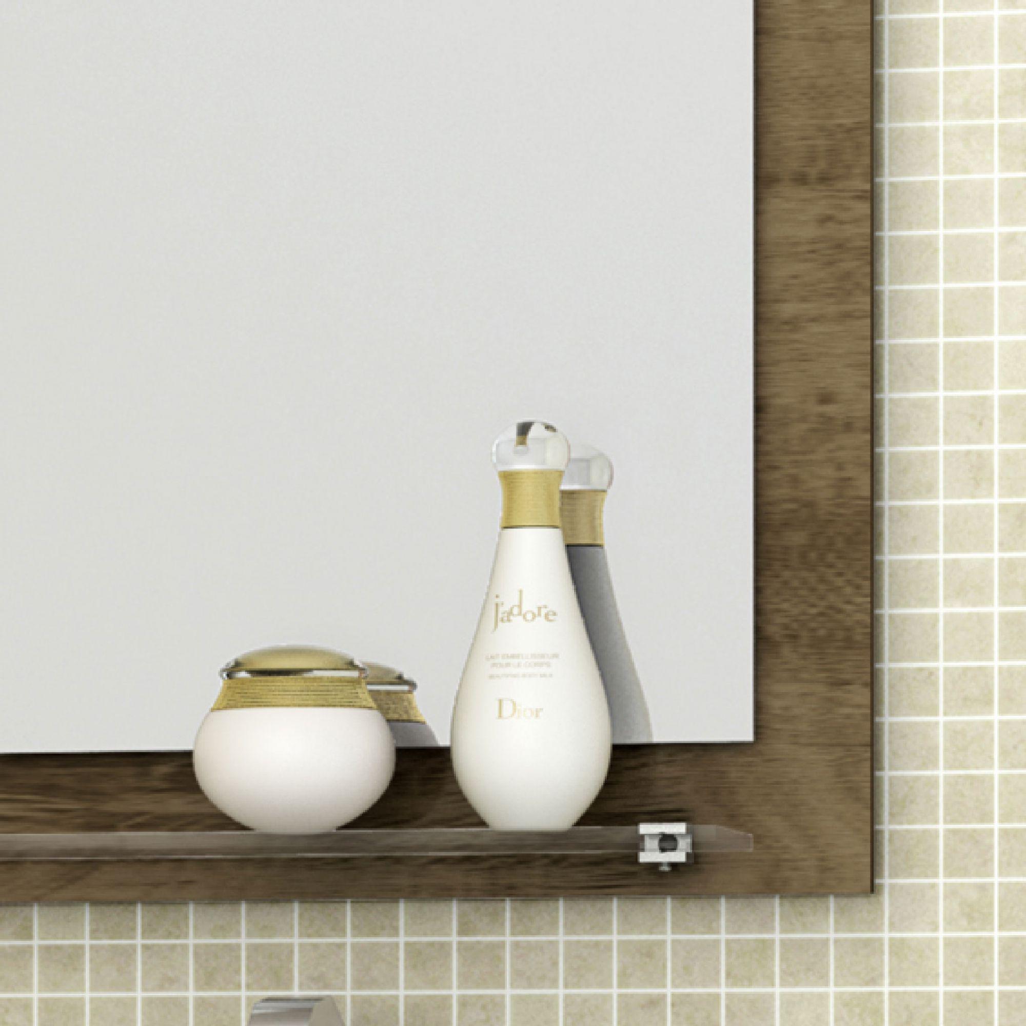 Gabinete com Espelheira Baden Madeira Rústica / Madeira 3D - Móveis Bechara