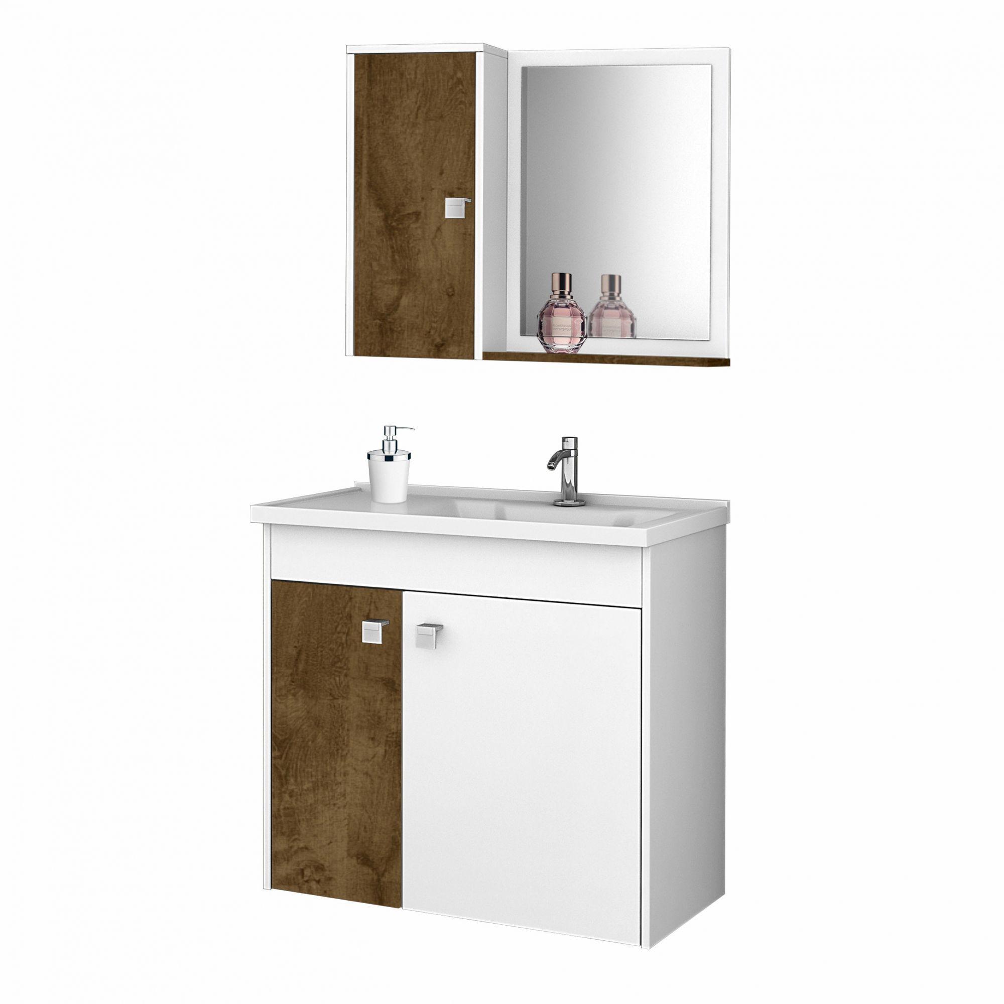 Gabinete com Espelheira Munique Branco / Madeira Rustica - Moveis Bechara
