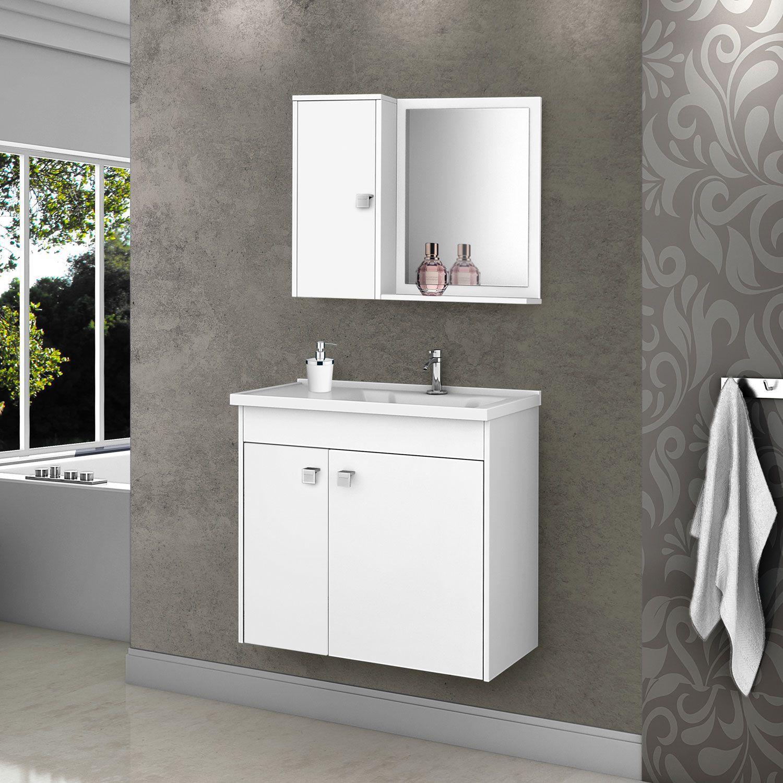 Gabinete com Espelheira Munique Branco - Moveis Bechara