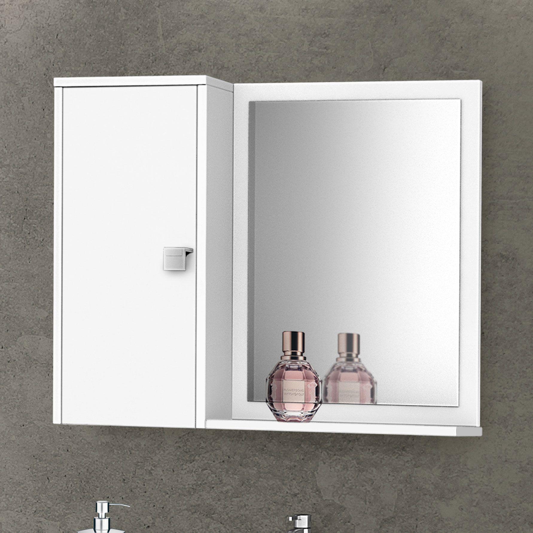 Gabinete com Espelheira Munique Branco - Móveis Bechara