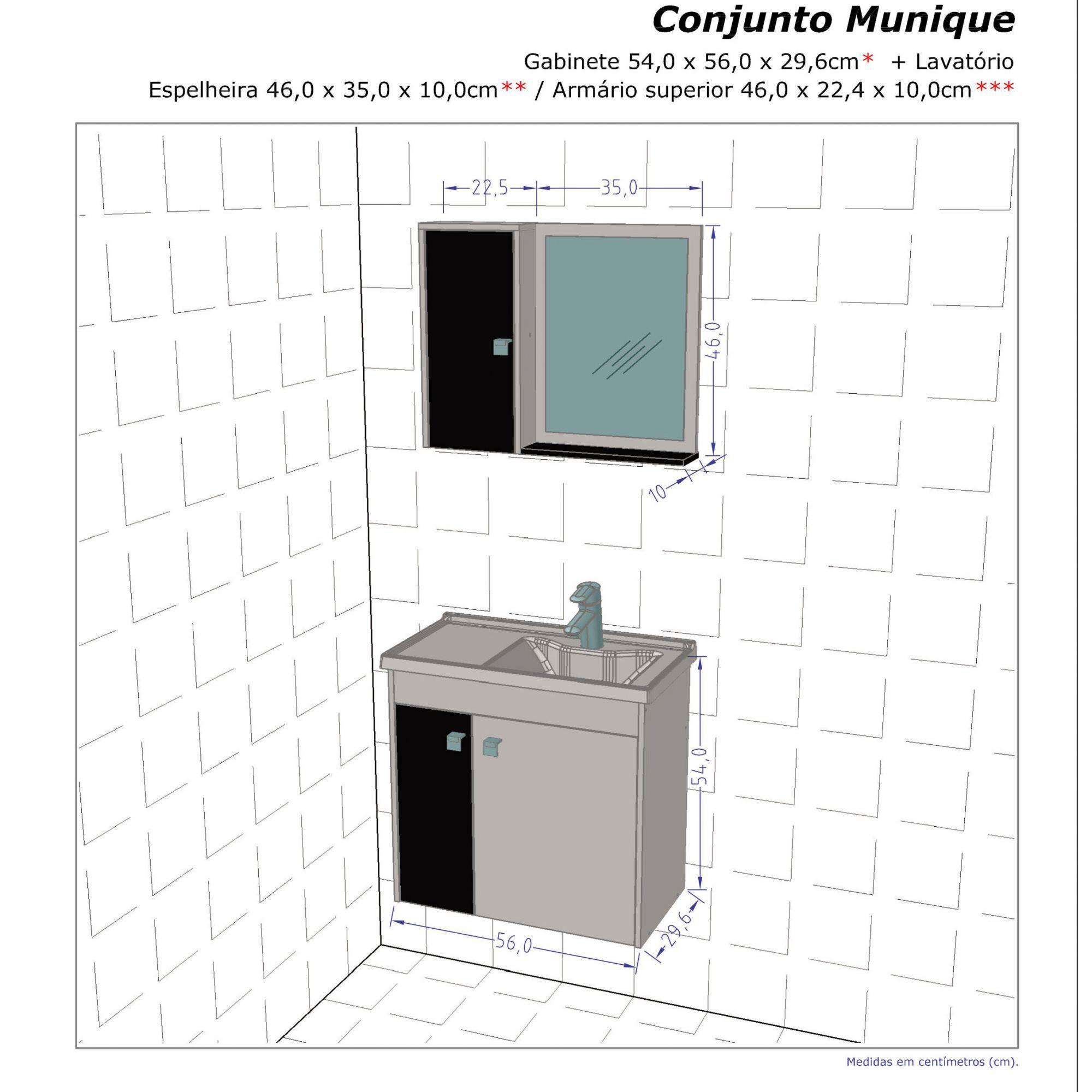 Gabinete com Espelheira Munique Madeira Rústica / Madeira 3D - Móveis Bechara