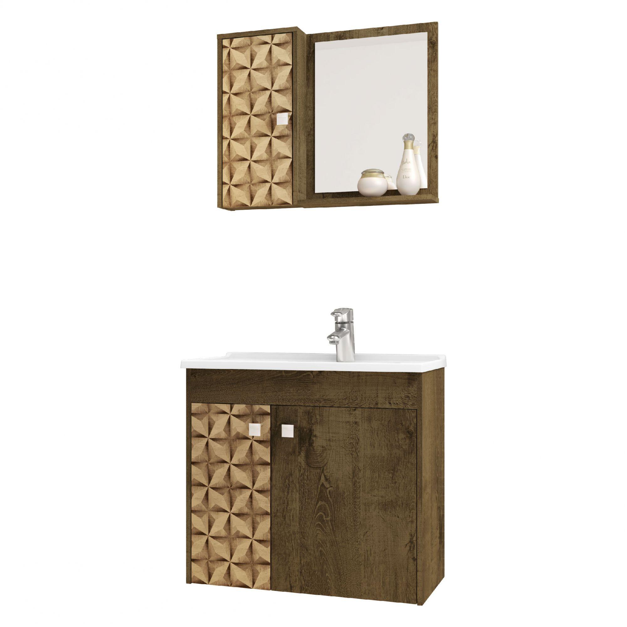 Gabinete com Espelheira Munique Madeira Rustica / Madeira 3D - Moveis Bechara