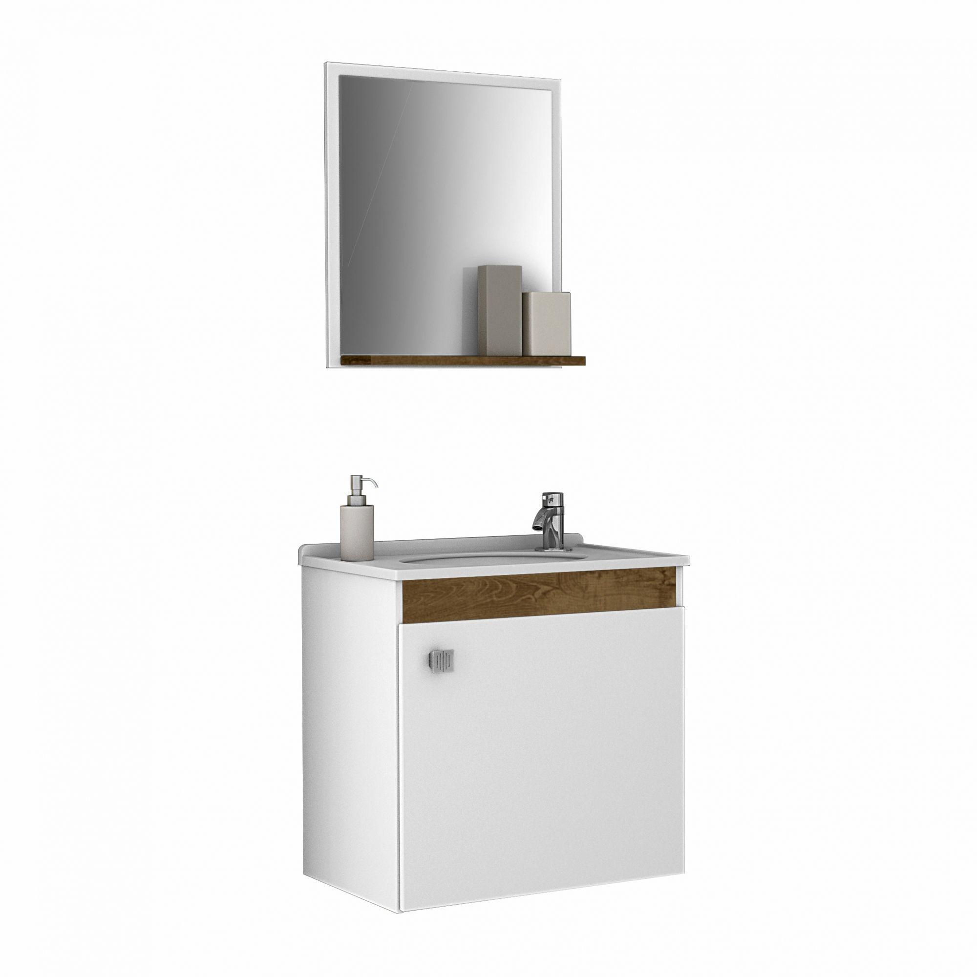 Gabinete com Espelheira Siena Branco / Madeira Rústica  - Móveis Bechara
