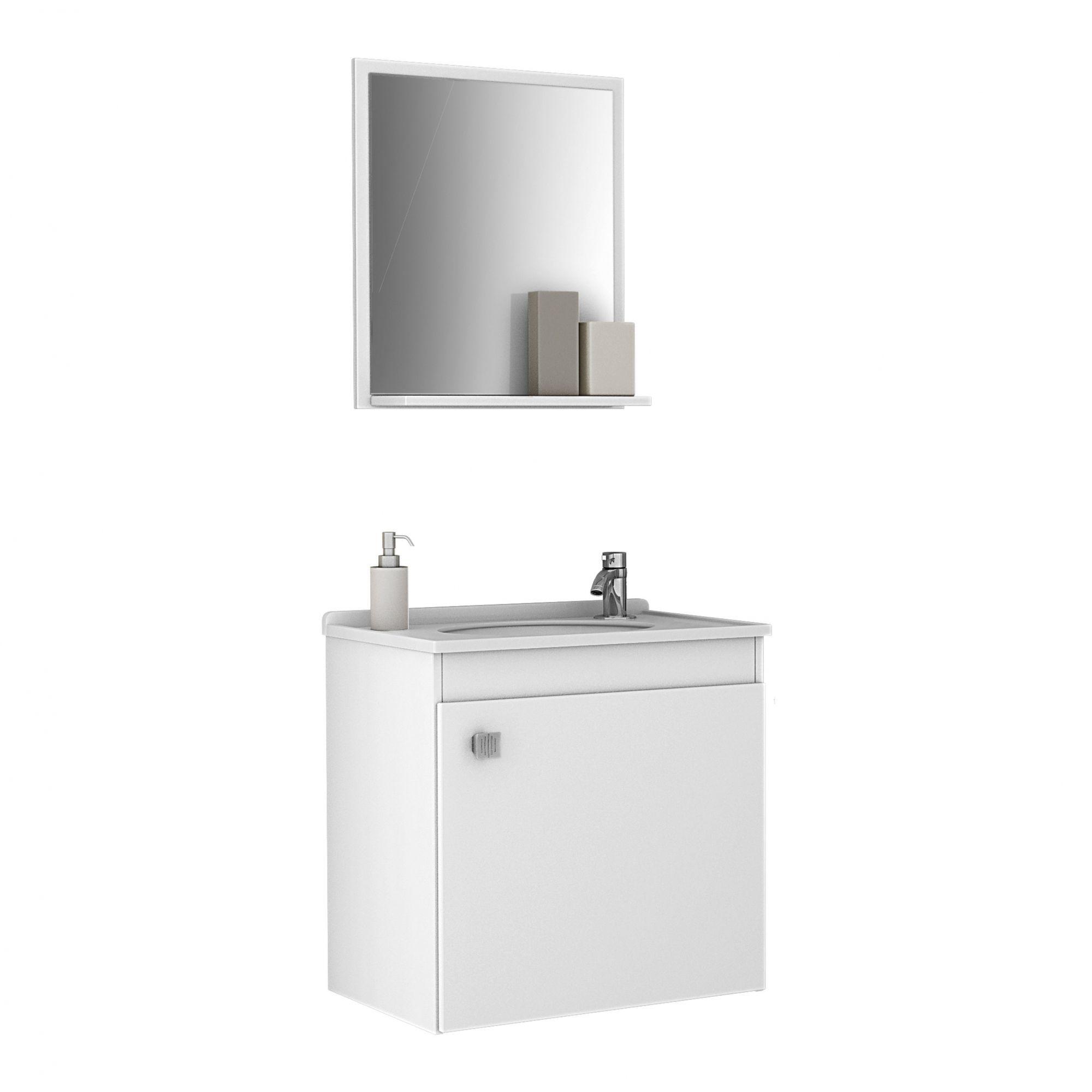 Gabinete com Espelheira Siena Branco - Moveis Bechara