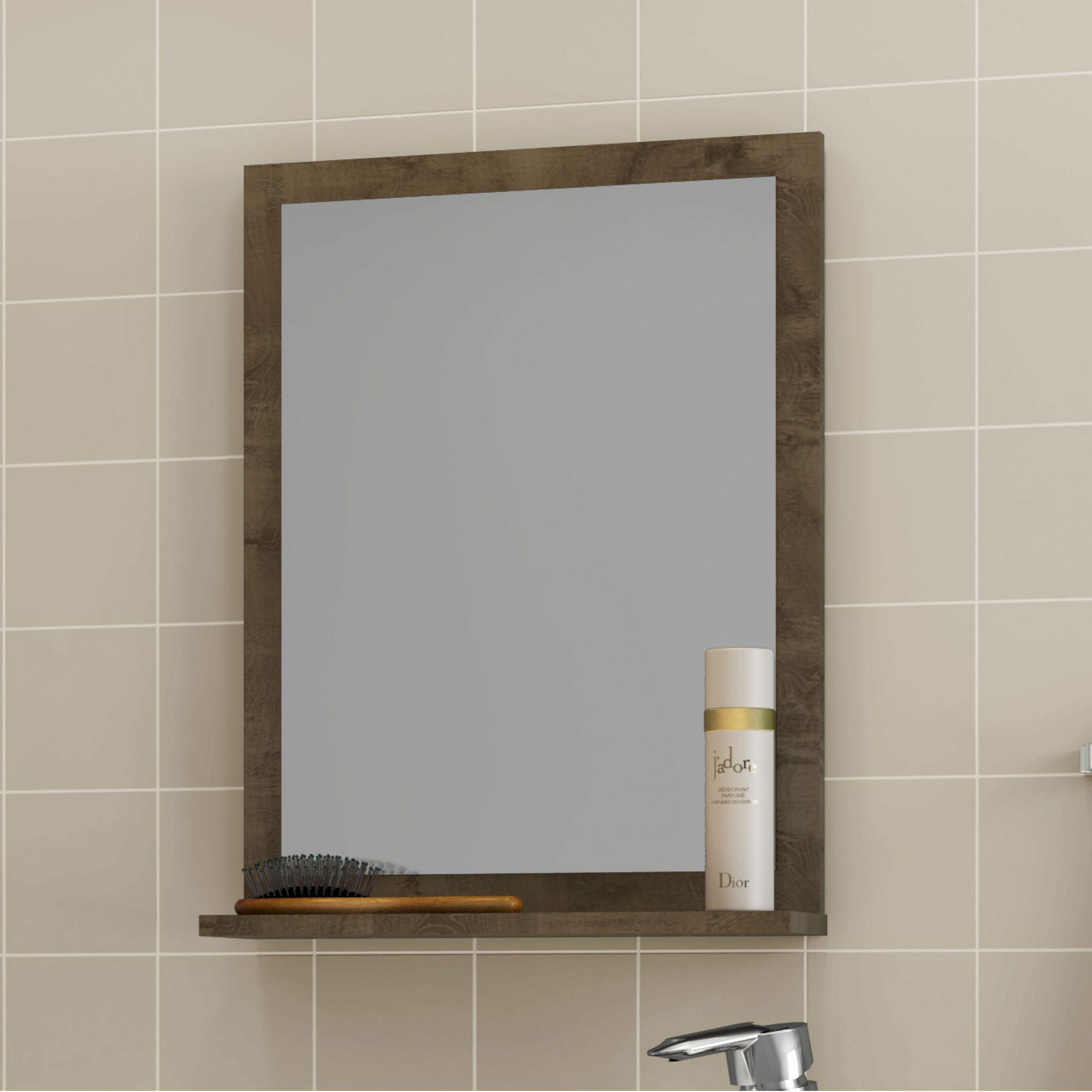 Gabinete com Espelheira Siena Madeira Rústica / Madeira 3D - Móveis Bechara