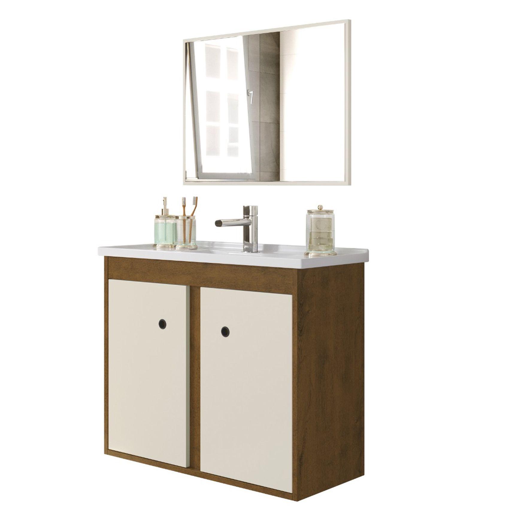 Gabinete com Cuba Para Banheiro Blazer Malbec - Off White - Fhem Móveis