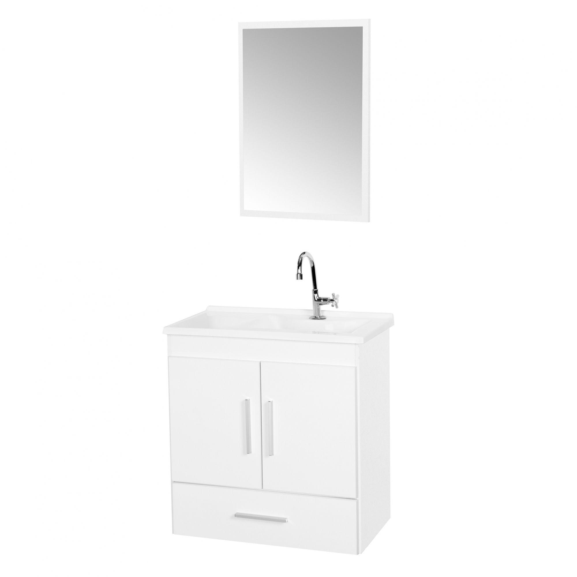 Gabinete com Cuba Para Banheiro Fox Branco - Fhem Móveis