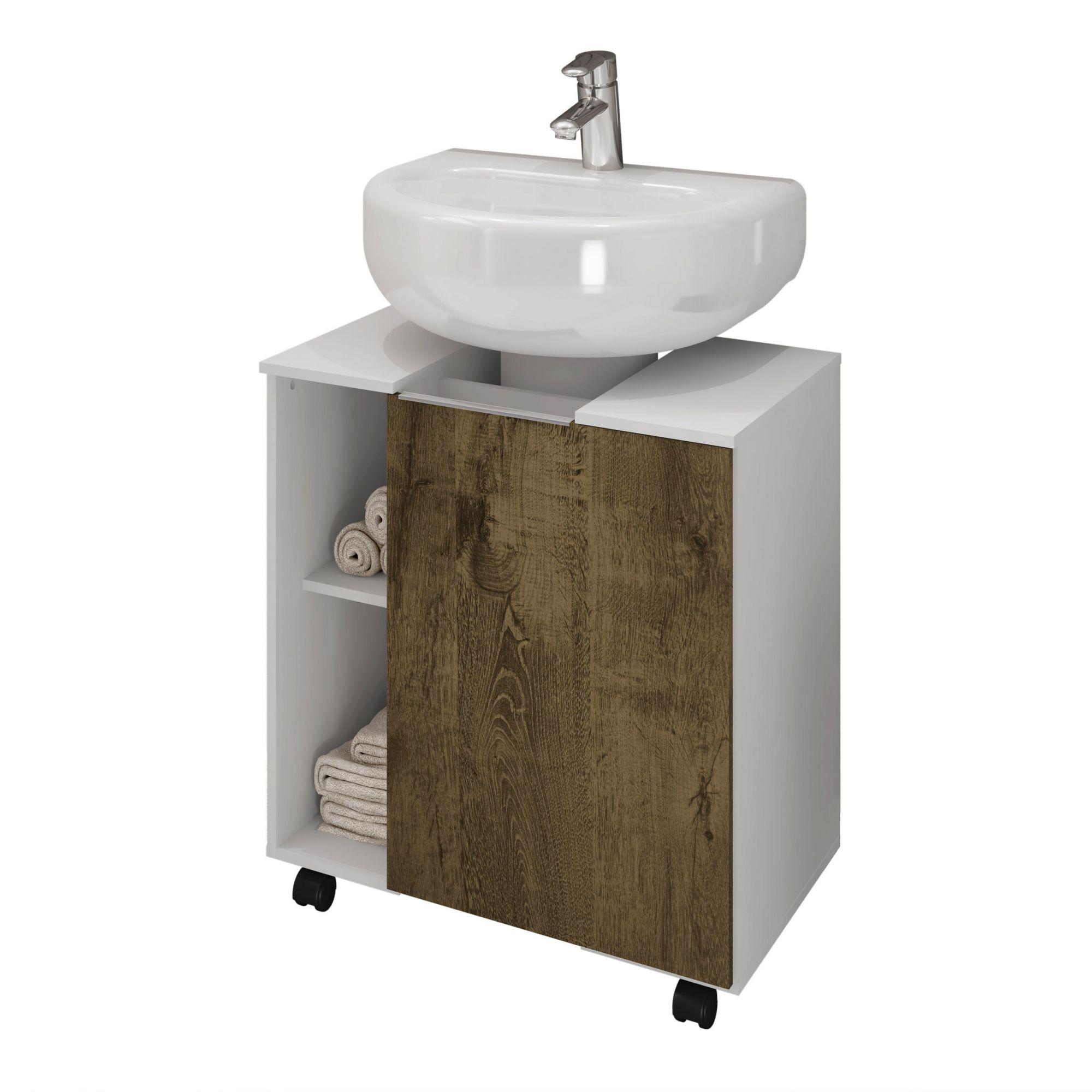 Gabinete para Banheiro Pequim Branco / Madeira Rústica - Móveis Bechara