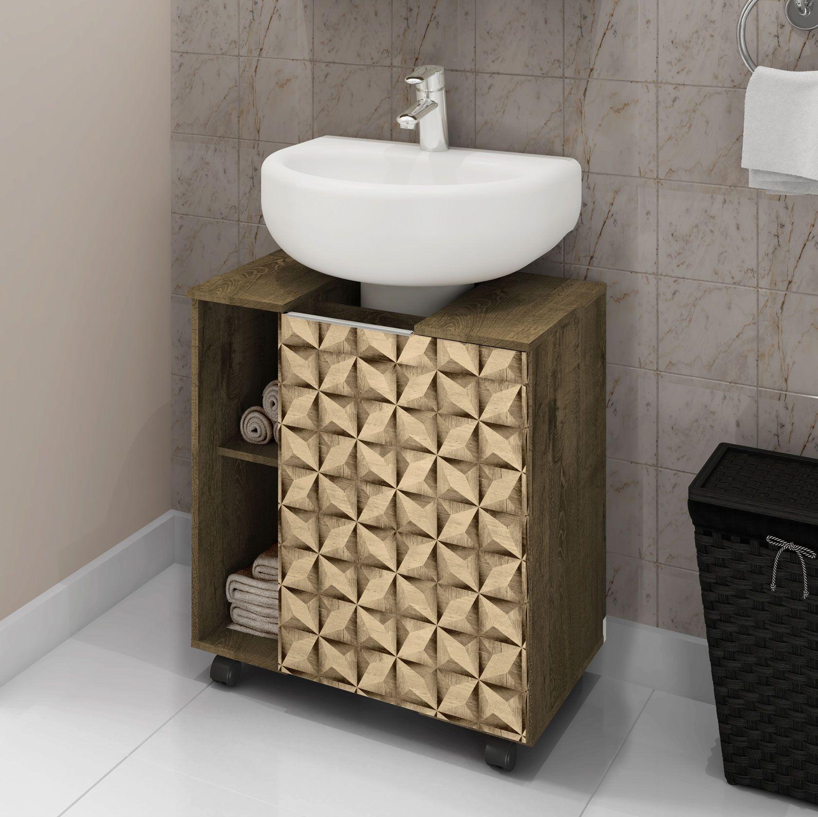 Gabinete para Banheiro Pequin Madeira Rústica / Madeira 3D - Móveis Bechara
