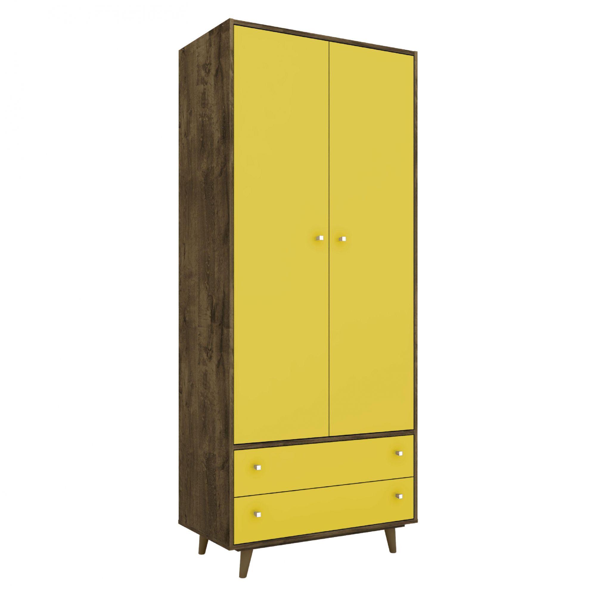 Guarda-Roupa 2 Portas Milão Madeira Rústica / Amarelo - Móveis Bechara